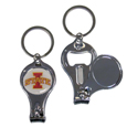 Iowa St. Cyclones Nail Care Key Chain - This unique collegiate Iowa St. Cyclones Nail Care key chain has 3 great functions! The key chain opens to become a nail clipper, when open you can access the nail file pad and the key chain has a bottle opener. Thank you for shopping with CrazedOutSports.com