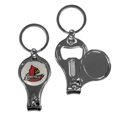 Louisville Cardinals Nail Care/Bottle Opener Key Chain - This unique Louisville Cardinals Nail Care/Bottle Opener Key Chain has 3 great functions! The key chain opens to become a nail clipper, when open you can access the nail file pad and the key chain has a bottle opener.