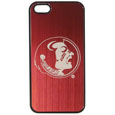 Florida St. Seminoles iPhone 5/5S Etched Case - This ultra cool hard shell snap on case provides great protection for the phone while the soft rubber finish adds to your grip to help prevent dropping the phone. This stylish case is finished off with a brushed metal Florida St. Seminoles team plate with laser etched Florida State Seminoles team logo. Thank you for shopping with CrazedOutSports.com