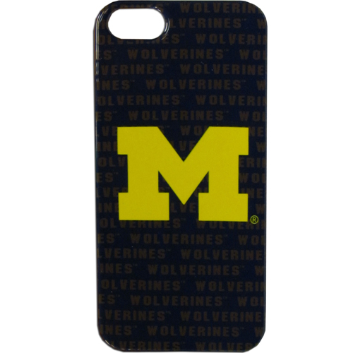 Michigan Wolverines iPhone 5G Graphics Case - This one piece collegiate Michigan Wolverines iPhone 5G Graphics Case faceplate features the team's primary logo and silhouetted pattern of the team name. Protect your phone with this Michigan Wolverines iPhone 5G Graphics Case. Thank you for shopping with CrazedOutSports.com