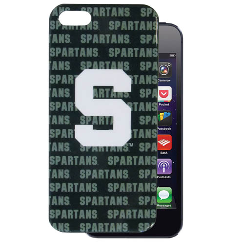 Michigan St. Spartans iPhone 5 Graphics Snap on Case - This officially licensed collegiate one piece Michigan St. Spartans iPhone 5 Graphics Snap on Case features the team's primary logo and silhouetted pattern of the team name.  The Michigan St. Spartans iPhone 5 Graphics Snap on Case protects your iPhone from bumps, scratches and other mishaps while allowing for complete access to the phone's functionality. Thank you for shopping with CrazedOutSports.com