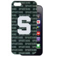 Michigan St. Spartans iPhone 5 Graphics Snap on Case - This officially licensed collegiate one piece Michigan St. Spartans iPhone 5 Graphics Snap on Case features the team's primary logo and silhouetted pattern of the team name.  Michigan St. Spartans iPhone 5 Graphics Snap on Case protects your iPhone from bumps, scratches and other mishaps while allowing for complete access to the phone's functionality. Thank you for shopping with CrazedOutSports.com