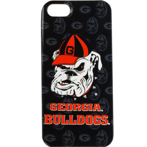 Georgia Bulldogs iPhone 5G Graphics Case - This one piece collegiate Georgia Bulldogs iPhone 5G Graphics Case faceplate features the Georgia Bulldogs primary logo and silhouetted pattern of the Georgia Bulldogs team name. Thank you for shopping with CrazedOutSports.com