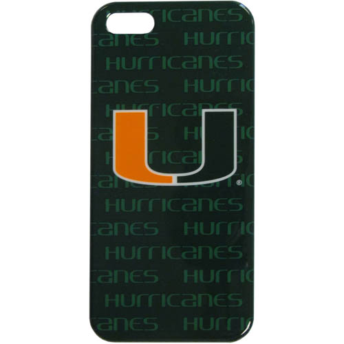 Miami iPhone 5 Graphics Snap on Case - This officially licensed collegiate one piece iPhone 5 snap on case features the team's primary logo and silhouetted pattern of the team name.  Protects your iPhone from bumps, scratches and other mishaps while allowing for complete access to the phone's functionality. Thank you for shopping with CrazedOutSports.com