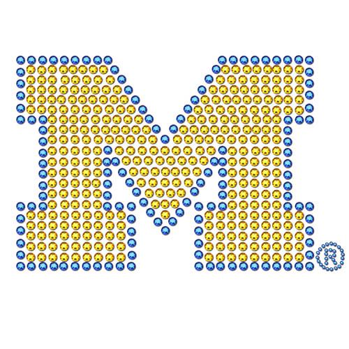 Michigan Wolverines Bling Decal - Add a little sparkle to your life with a Michigan Wolverines Bling Decal. This Michigan Wolverines Bling Decal has individual team colored crystals in the school's primary logo. Thank you for shopping with CrazedOutSports.com