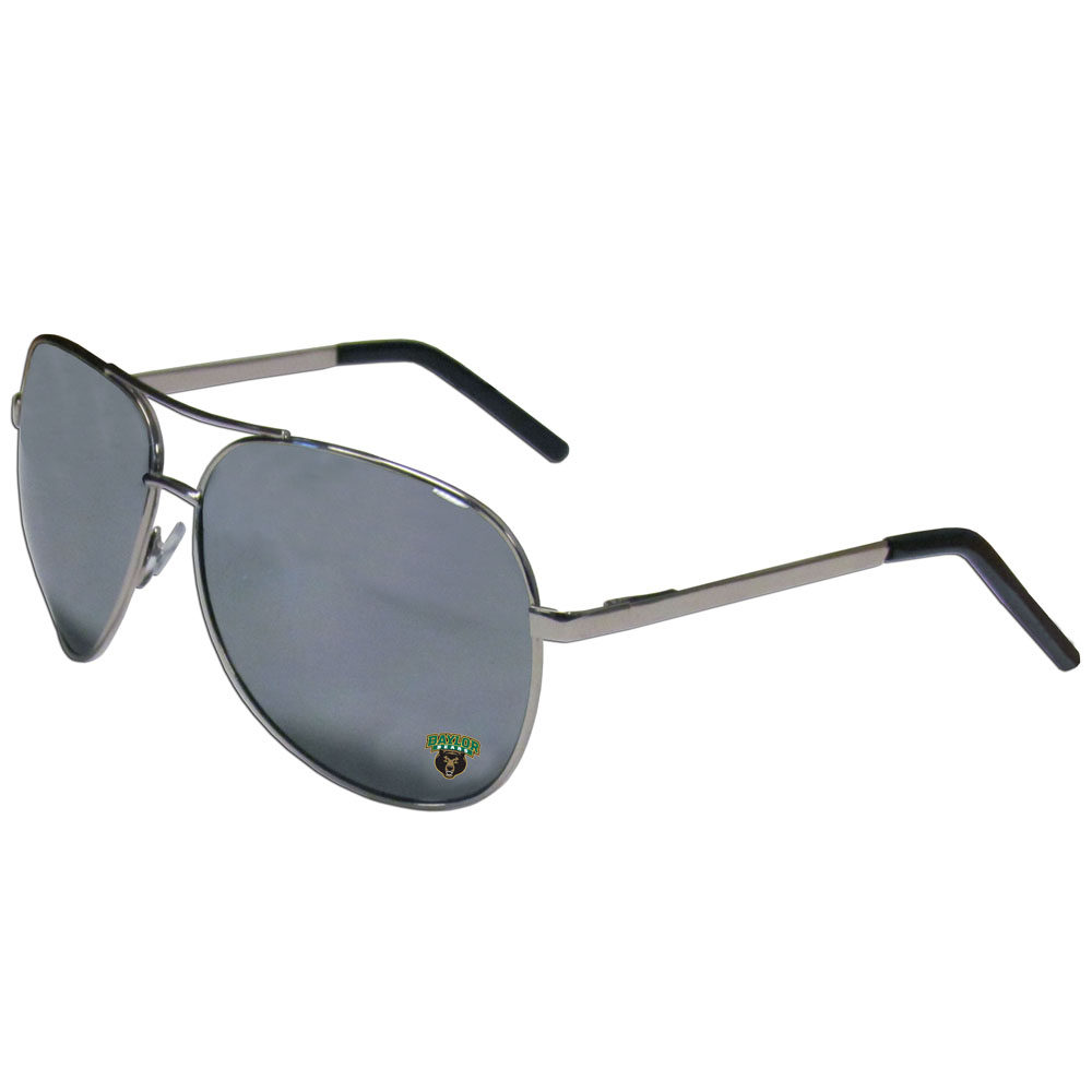 Baylor Bears Aviator Sunglasses - Our aviator sunglasses have the iconic aviator style with mirrored lenses and metal frames. The glasses feature a silk screened Baylor Bears logo in the corner of the lense. 100% UVA/UVB protection.