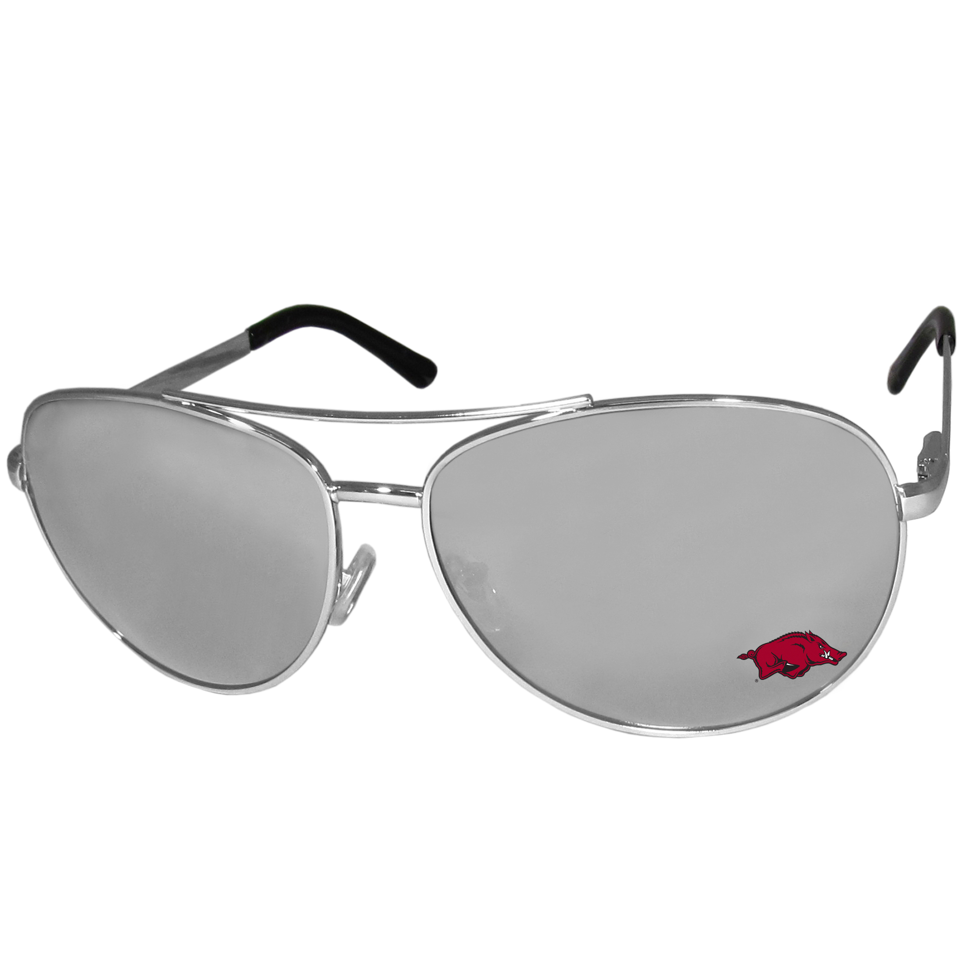 Arkansas Razorbacks Aviator Sunglasses - Our aviator sunglasses have the iconic aviator style with mirrored lenses and metal frames. The glasses feature a silk screened Arkansas Razorbacks logo in the corner of the lense. 100% UVA/UVB protection.