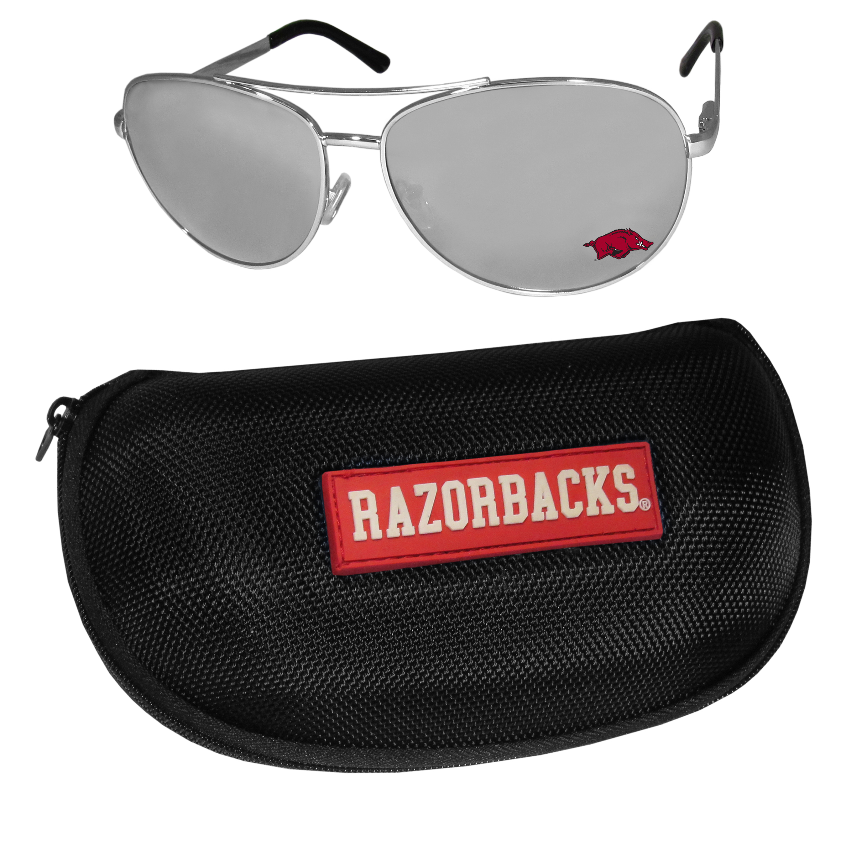 Arkansas Razorbacks Aviator Sunglasses and Zippered Carrying Case - Aviator sunglasses are truly an iconic retro fashion statement that never goes out-of-style. Our Arkansas Razorbacks  aviator sunglasses pair this classic look with your love of the game. The iridium coated lenses reduce glare while driving, boating, golfing and their 100% UVA/UVB rating provides you with the maximum UV protection for all your outdoor activities. A millennial favorite, these affordable designer frames are the perfect eyewear accessory for a sports fan that is looking for high-quality at an affordable price. The durable, flex hinged frames are tough enough for hiking and camping or if you prefer sun bathing by the pool or on the beach these shades will really stand the test of time. The sunglasses come with a hard shell zippered case which has a large team logo on the lid that will make even the most die-hard fan proud!