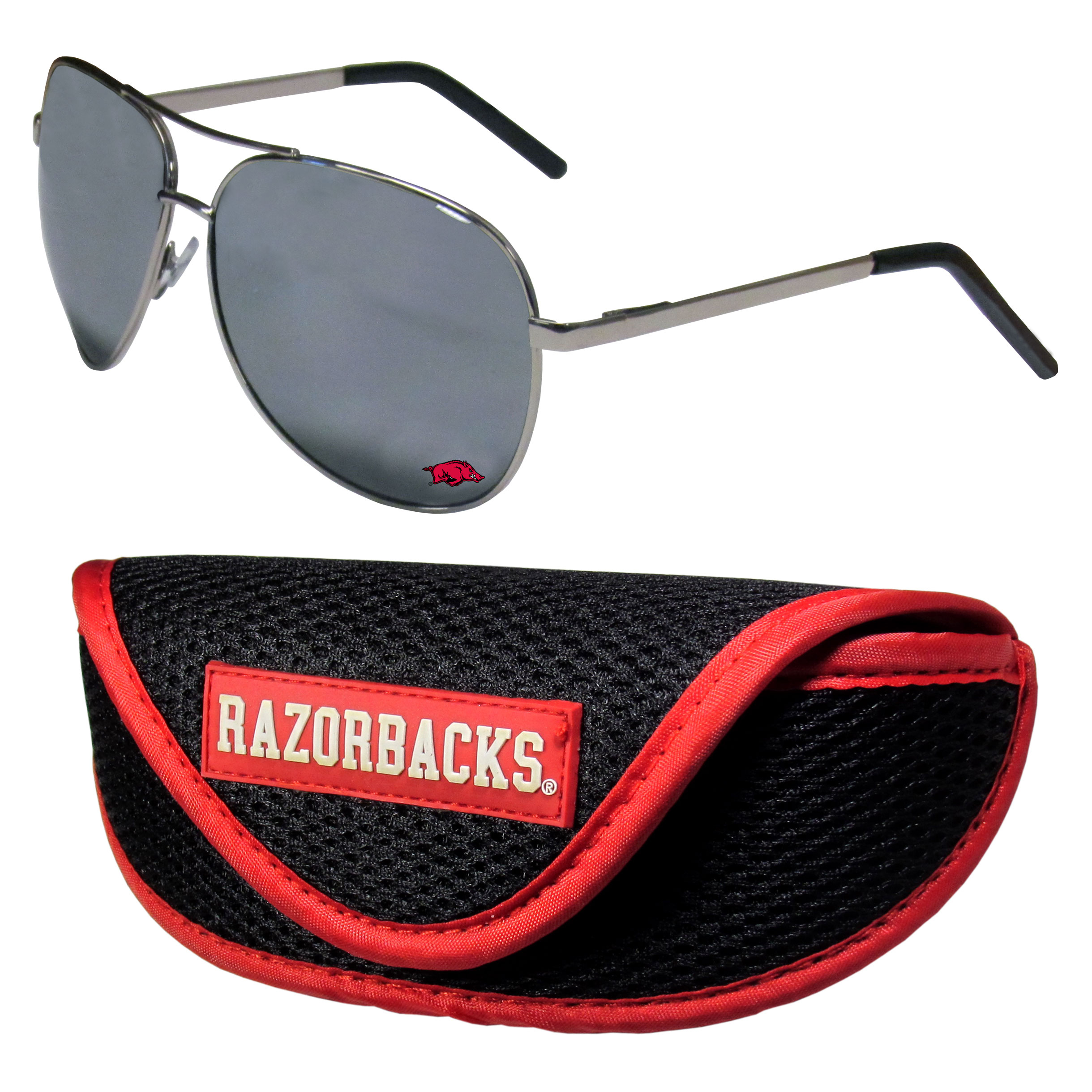 Arkansas Razorbacks Aviator Sunglasses and Sports Case - Aviator sunglasses are truly an iconic retro fashion statement that never goes out-of-style. Our Arkansas Razorbacks  aviator sunglasses pair this classic look with your love of the game. The iridium coated lenses reduce glare while driving, boating, golfing and their 100% UVA/UVB rating provides you with the maximum UV protection for all your outdoor activities. A millennial favorite, these affordable designer frames are the perfect eyewear accessory for a sports fan that is looking for high-quality at an affordable price. The durable, flex hinged frames are tough enough for hiking and camping or if you prefer sun bathing by the pool or on the beach these shades will really stand the test of time. The sunglasses come with a sporty case which has a large team logo on the lid that will make even the most die-hard fan proud!
