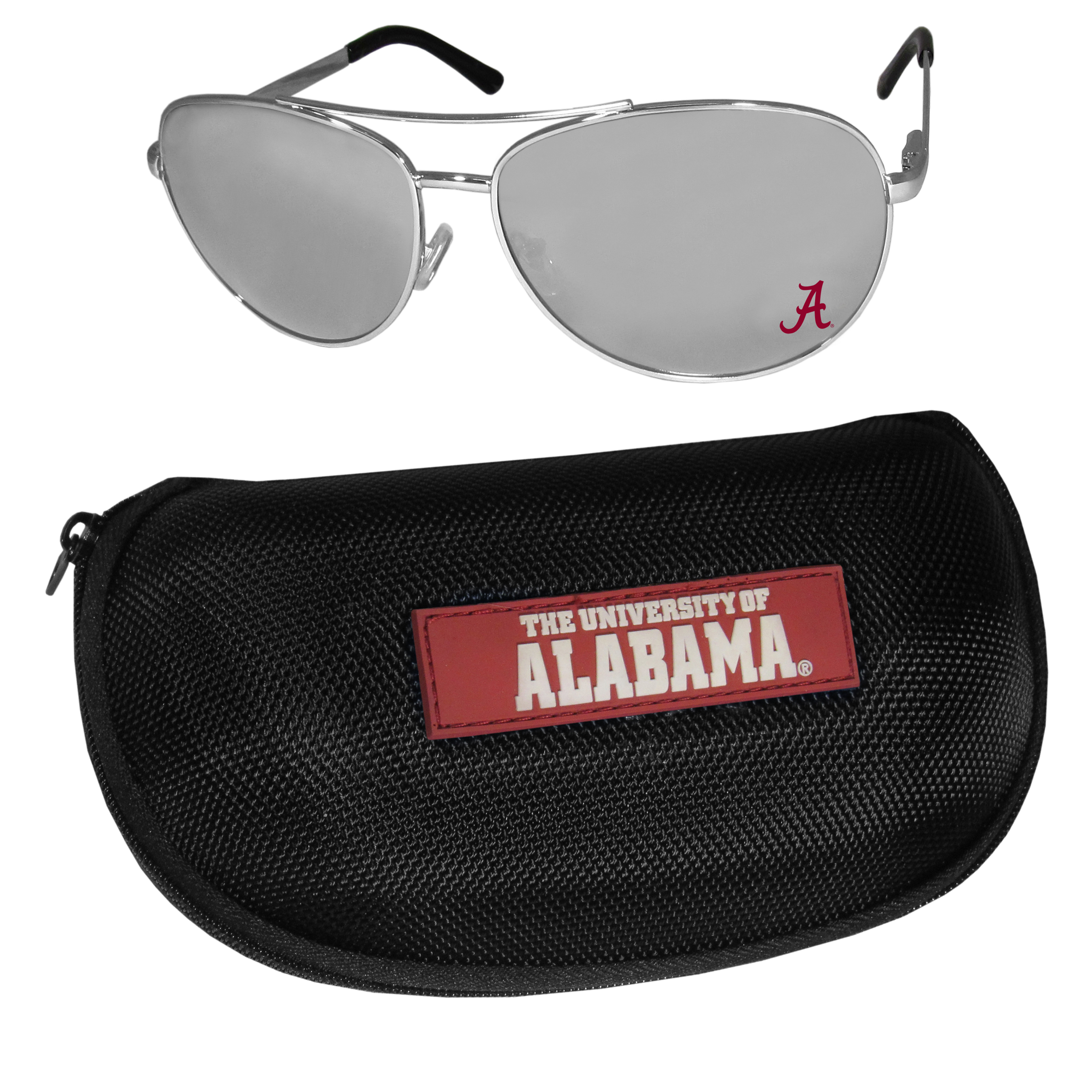 Alabama Crimson Tide Aviator Sunglasses and Zippered Carrying Case - Aviator sunglasses are truly an iconic retro fashion statement that never goes out-of-style. Our Alabama Crimson Tide  aviator sunglasses pair this classic look with your love of the game. The iridium coated lenses reduce glare while driving, boating, golfing and their 100% UVA/UVB rating provides you with the maximum UV protection for all your outdoor activities. A millennial favorite, these affordable designer frames are the perfect eyewear accessory for a sports fan that is looking for high-quality at an affordable price. The durable, flex hinged frames are tough enough for hiking and camping or if you prefer sun bathing by the pool or on the beach these shades will really stand the test of time. The sunglasses come with a hard shell zippered case which has a large team logo on the lid that will make even the most die-hard fan proud!