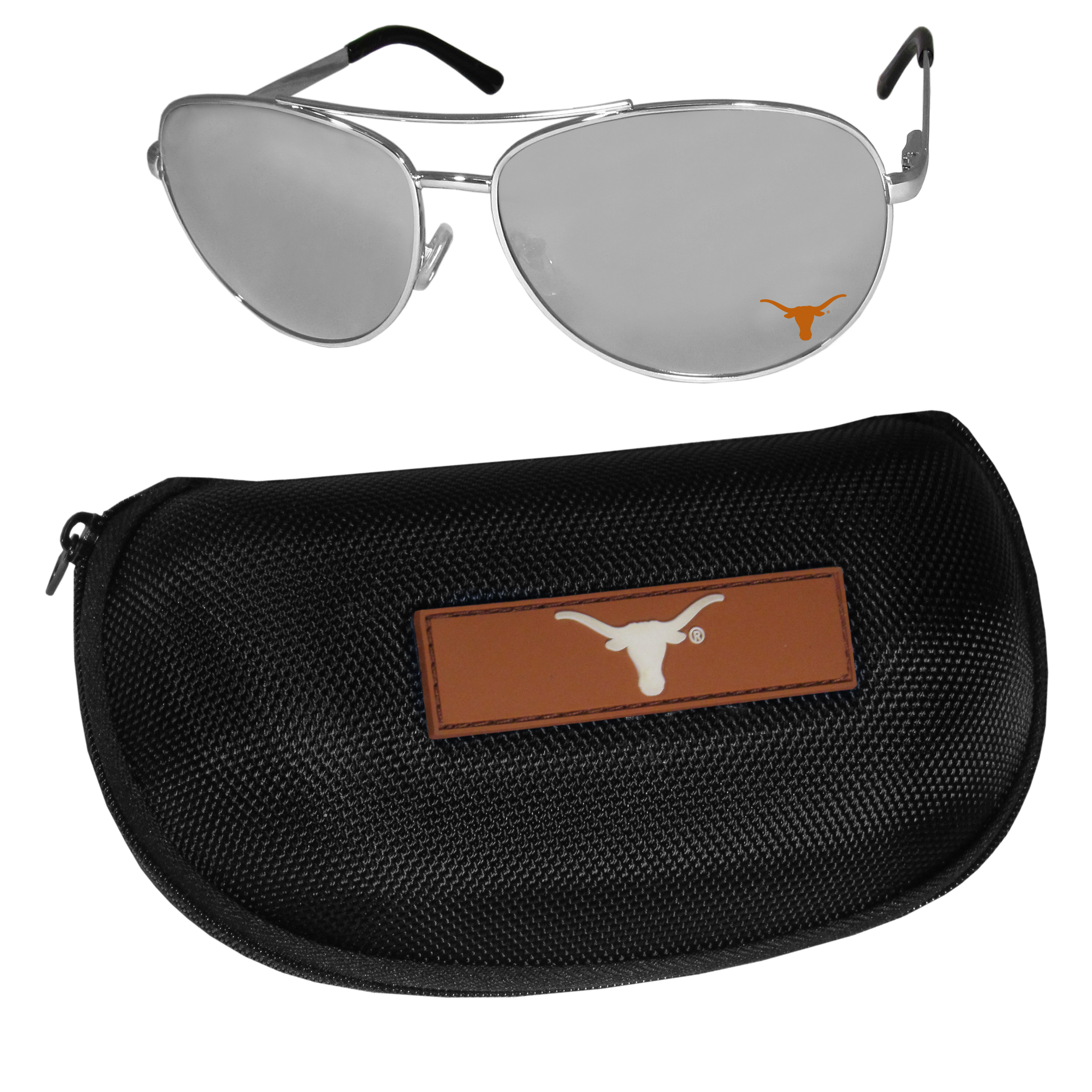 Texas Longhorns Aviator Sunglasses and Zippered Carrying Case - Aviator sunglasses are truly an iconic retro fashion statement that never goes out-of-style. Our Texas Longhorns  aviator sunglasses pair this classic look with your love of the game. The iridium coated lenses reduce glare while driving, boating, golfing and their 100% UVA/UVB rating provides you with the maximum UV protection for all your outdoor activities. A millennial favorite, these affordable designer frames are the perfect eyewear accessory for a sports fan that is looking for high-quality at an affordable price. The durable, flex hinged frames are tough enough for hiking and camping or if you prefer sun bathing by the pool or on the beach these shades will really stand the test of time. The sunglasses come with a hard shell zippered case which has a large team logo on the lid that will make even the most die-hard fan proud!