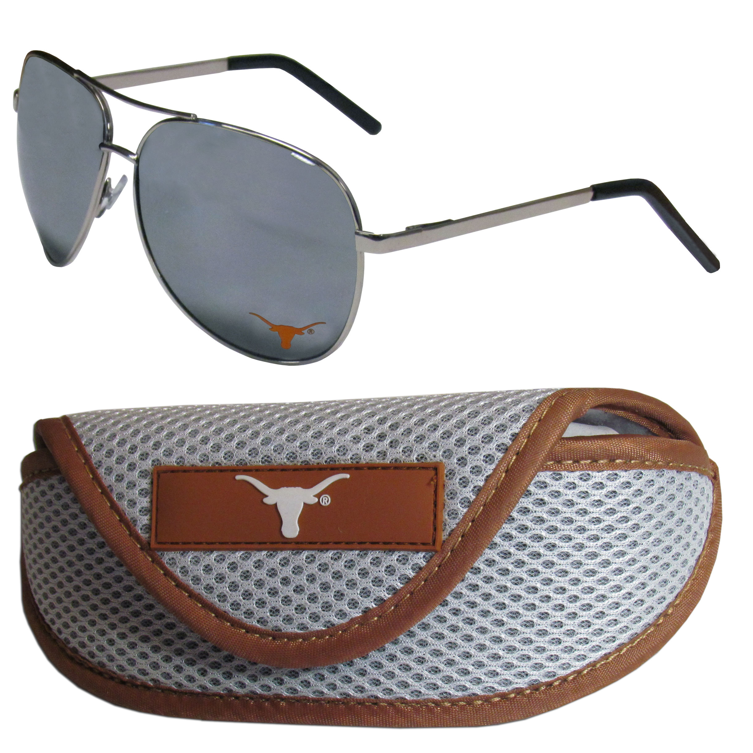 Texas Longhorns Aviator Sunglasses and Sports Case - Aviator sunglasses are truly an iconic retro fashion statement that never goes out-of-style. Our Texas Longhorns  aviator sunglasses pair this classic look with your love of the game. The iridium coated lenses reduce glare while driving, boating, golfing and their 100% UVA/UVB rating provides you with the maximum UV protection for all your outdoor activities. A millennial favorite, these affordable designer frames are the perfect eyewear accessory for a sports fan that is looking for high-quality at an affordable price. The durable, flex hinged frames are tough enough for hiking and camping or if you prefer sun bathing by the pool or on the beach these shades will really stand the test of time. The sunglasses come with a sporty case which has a large team logo on the lid that will make even the most die-hard fan proud!