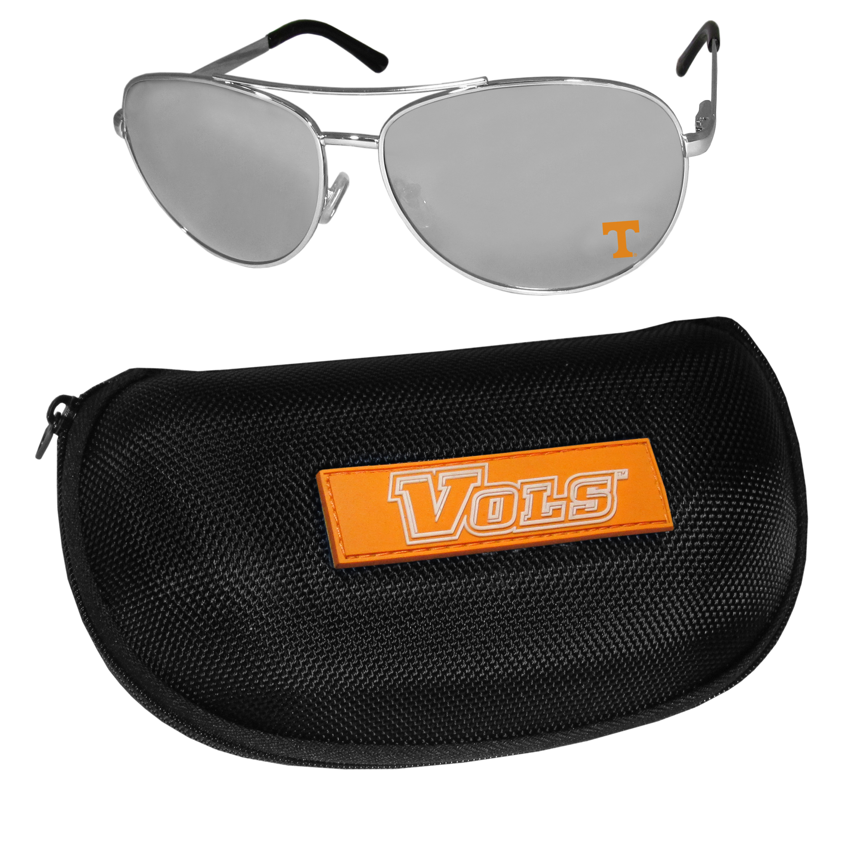 Tennessee Volunteers Aviator Sunglasses and Zippered Carrying Case - Aviator sunglasses are truly an iconic retro fashion statement that never goes out-of-style. Our Tennessee Volunteers  aviator sunglasses pair this classic look with your love of the game. The iridium coated lenses reduce glare while driving, boating, golfing and their 100% UVA/UVB rating provides you with the maximum UV protection for all your outdoor activities. A millennial favorite, these affordable designer frames are the perfect eyewear accessory for a sports fan that is looking for high-quality at an affordable price. The durable, flex hinged frames are tough enough for hiking and camping or if you prefer sun bathing by the pool or on the beach these shades will really stand the test of time. The sunglasses come with a hard shell zippered case which has a large team logo on the lid that will make even the most die-hard fan proud!