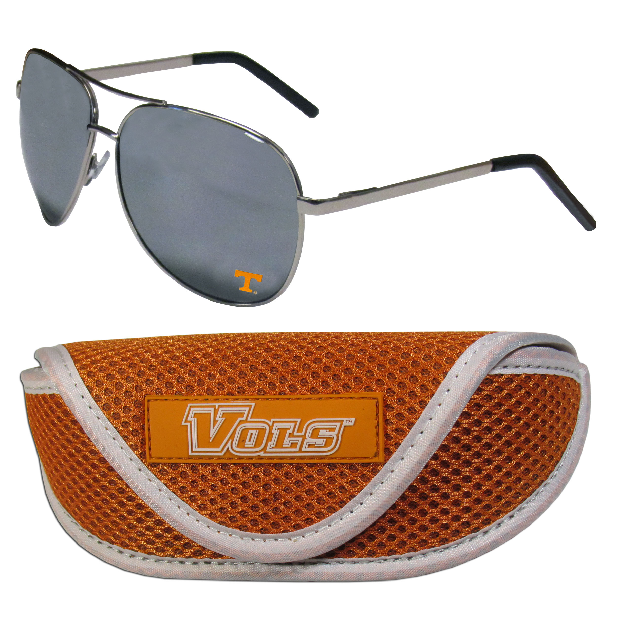 Tennessee Volunteers Aviator Sunglasses and Sports Case - Aviator sunglasses are truly an iconic retro fashion statement that never goes out-of-style. Our Tennessee Volunteers  aviator sunglasses pair this classic look with your love of the game. The iridium coated lenses reduce glare while driving, boating, golfing and their 100% UVA/UVB rating provides you with the maximum UV protection for all your outdoor activities. A millennial favorite, these affordable designer frames are the perfect eyewear accessory for a sports fan that is looking for high-quality at an affordable price. The durable, flex hinged frames are tough enough for hiking and camping or if you prefer sun bathing by the pool or on the beach these shades will really stand the test of time. The sunglasses come with a sporty case which has a large team logo on the lid that will make even the most die-hard fan proud!