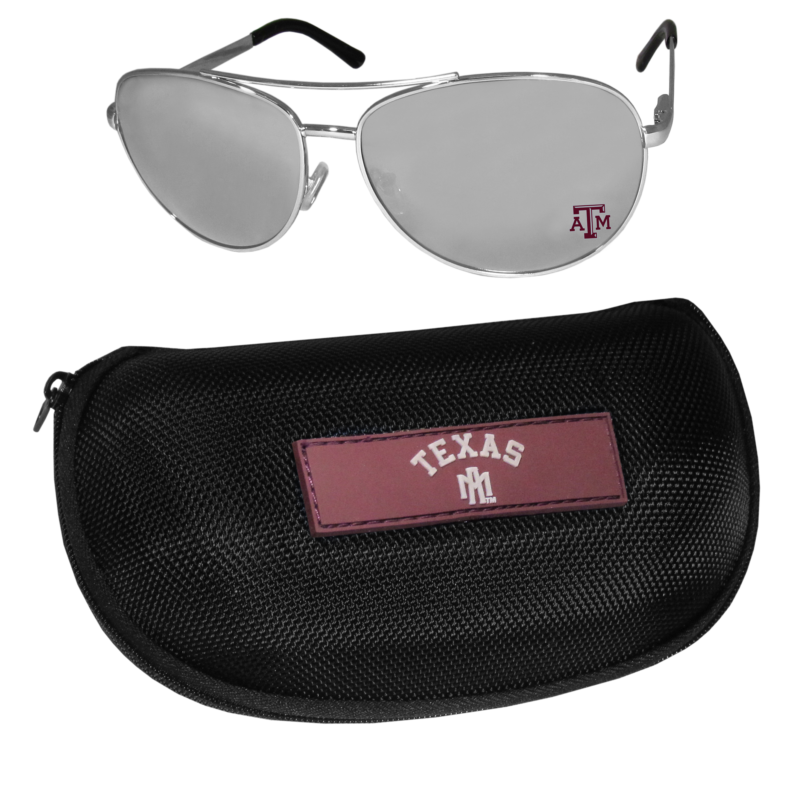 Texas A and M Aggies Aviator Sunglasses and Zippered Carrying Case - Aviator sunglasses are truly an iconic retro fashion statement that never goes out-of-style. Our Texas A & M Aggies  aviator sunglasses pair this classic look with your love of the game. The iridium coated lenses reduce glare while driving, boating, golfing and their 100% UVA/UVB rating provides you with the maximum UV protection for all your outdoor activities. A millennial favorite, these affordable designer frames are the perfect eyewear accessory for a sports fan that is looking for high-quality at an affordable price. The durable, flex hinged frames are tough enough for hiking and camping or if you prefer sun bathing by the pool or on the beach these shades will really stand the test of time. The sunglasses come with a hard shell zippered case which has a large team logo on the lid that will make even the most die-hard fan proud!