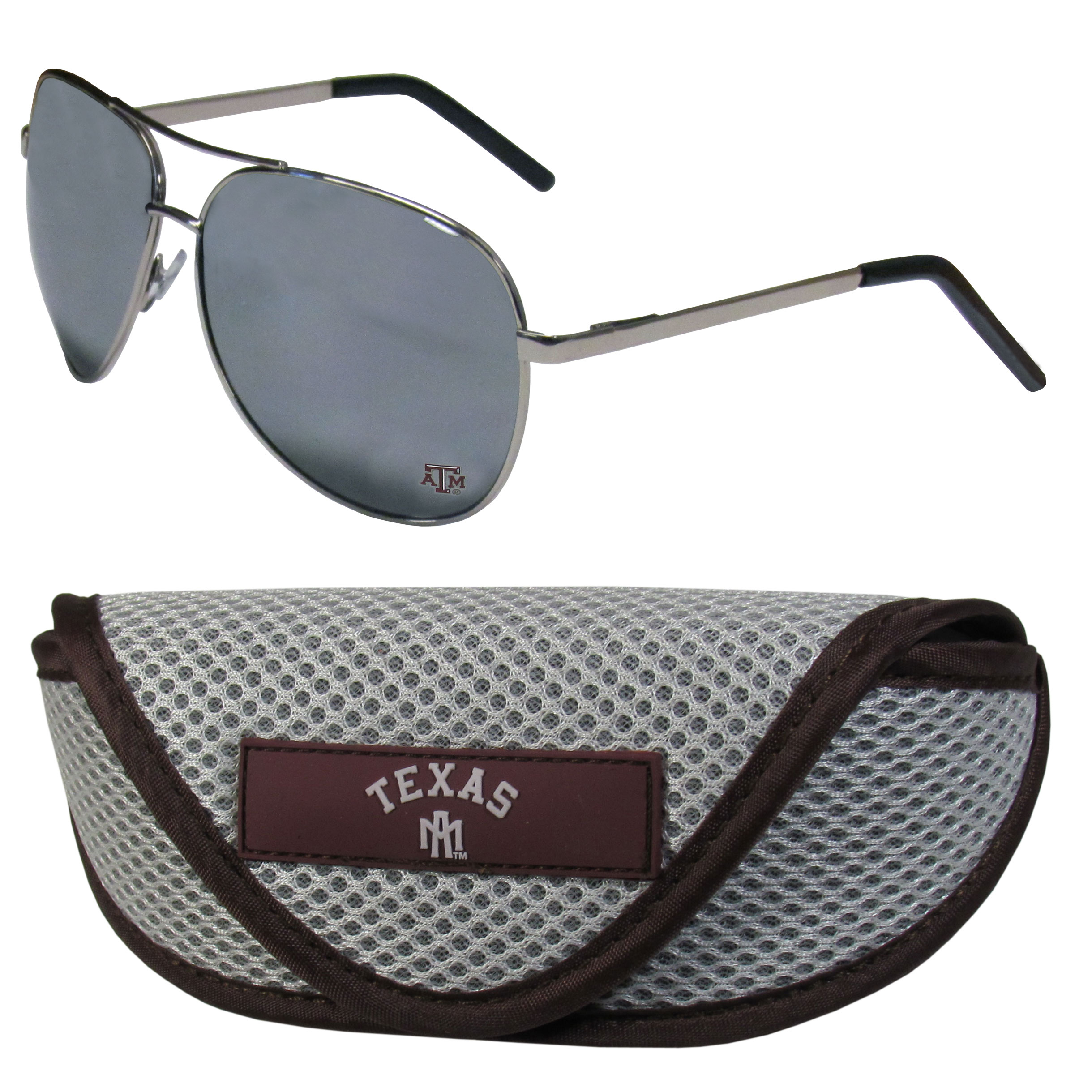 Texas A and M Aggies Aviator Sunglasses and Sports Case - Aviator sunglasses are truly an iconic retro fashion statement that never goes out-of-style. Our Texas A & M Aggies  aviator sunglasses pair this classic look with your love of the game. The iridium coated lenses reduce glare while driving, boating, golfing and their 100% UVA/UVB rating provides you with the maximum UV protection for all your outdoor activities. A millennial favorite, these affordable designer frames are the perfect eyewear accessory for a sports fan that is looking for high-quality at an affordable price. The durable, flex hinged frames are tough enough for hiking and camping or if you prefer sun bathing by the pool or on the beach these shades will really stand the test of time. The sunglasses come with a sporty case which has a large team logo on the lid that will make even the most die-hard fan proud!