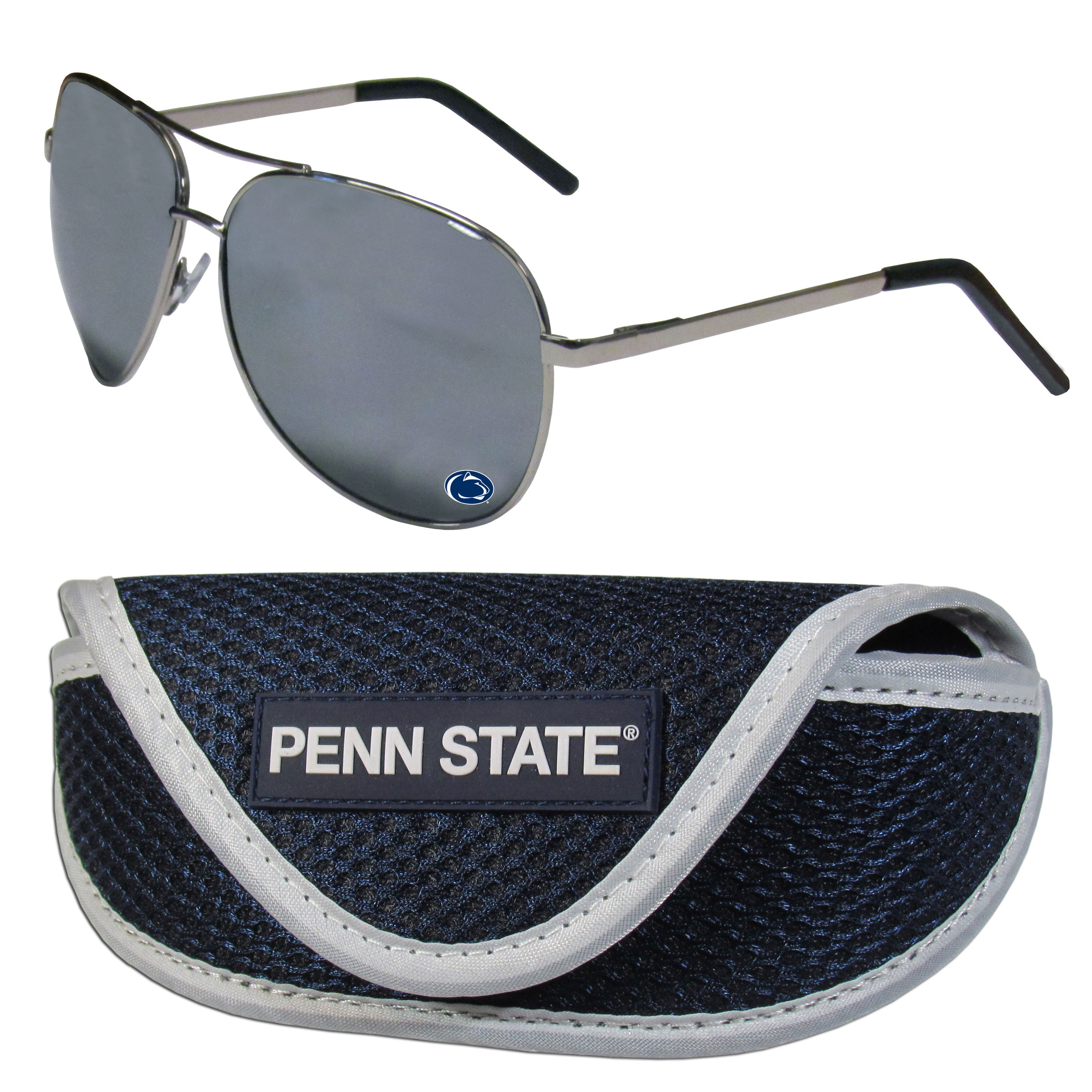 Penn St. Nittany Lions Aviator Sunglasses and Sports Case - Aviator sunglasses are truly an iconic retro fashion statement that never goes out-of-style. Our Penn St. Nittany Lions  aviator sunglasses pair this classic look with your love of the game. The iridium coated lenses reduce glare while driving, boating, golfing and their 100% UVA/UVB rating provides you with the maximum UV protection for all your outdoor activities. A millennial favorite, these affordable designer frames are the perfect eyewear accessory for a sports fan that is looking for high-quality at an affordable price. The durable, flex hinged frames are tough enough for hiking and camping or if you prefer sun bathing by the pool or on the beach these shades will really stand the test of time. The sunglasses come with a sporty case which has a large team logo on the lid that will make even the most die-hard fan proud!