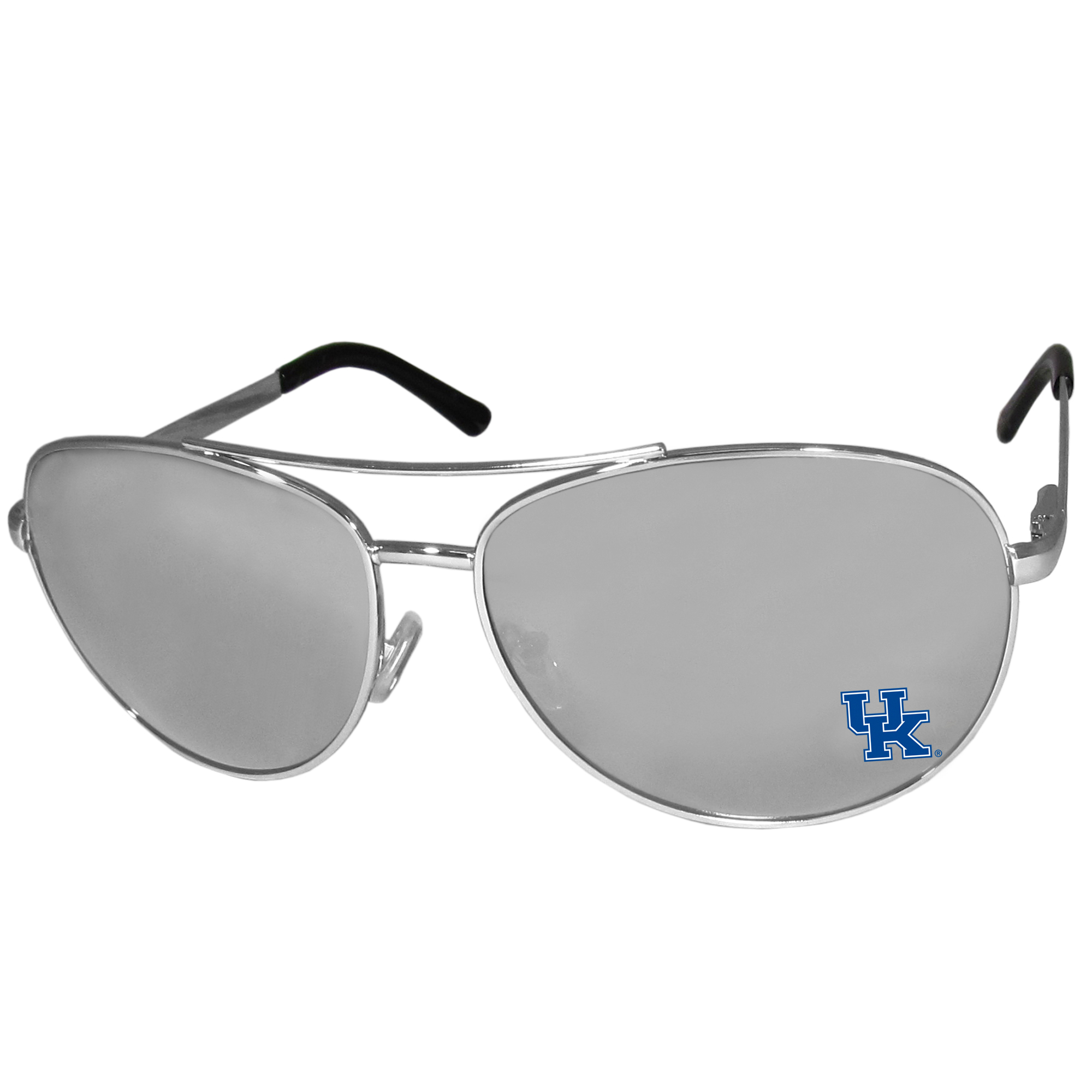 Kentucky Wildcats Aviator Sunglasses - Our aviator sunglasses have the iconic aviator style with mirrored lenses and metal frames. The glasses feature a silk screened Kentucky Wildcats logo in the corner of the lense. 100% UVA/UVB protection.