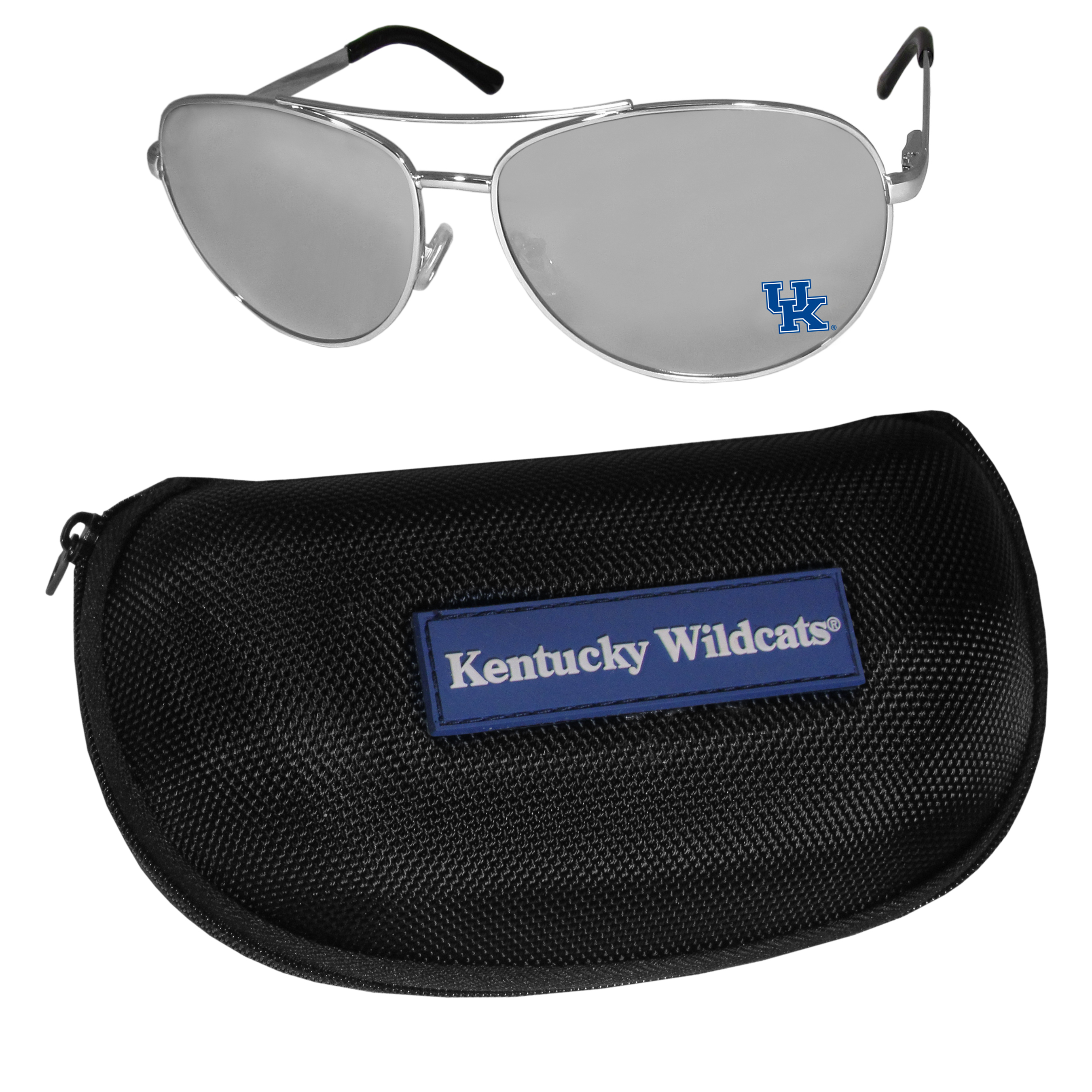 Kentucky Wildcats Aviator Sunglasses and Zippered Carrying Case - Aviator sunglasses are truly an iconic retro fashion statement that never goes out-of-style. Our Kentucky Wildcats  aviator sunglasses pair this classic look with your love of the game. The iridium coated lenses reduce glare while driving, boating, golfing and their 100% UVA/UVB rating provides you with the maximum UV protection for all your outdoor activities. A millennial favorite, these affordable designer frames are the perfect eyewear accessory for a sports fan that is looking for high-quality at an affordable price. The durable, flex hinged frames are tough enough for hiking and camping or if you prefer sun bathing by the pool or on the beach these shades will really stand the test of time. The sunglasses come with a hard shell zippered case which has a large team logo on the lid that will make even the most die-hard fan proud!