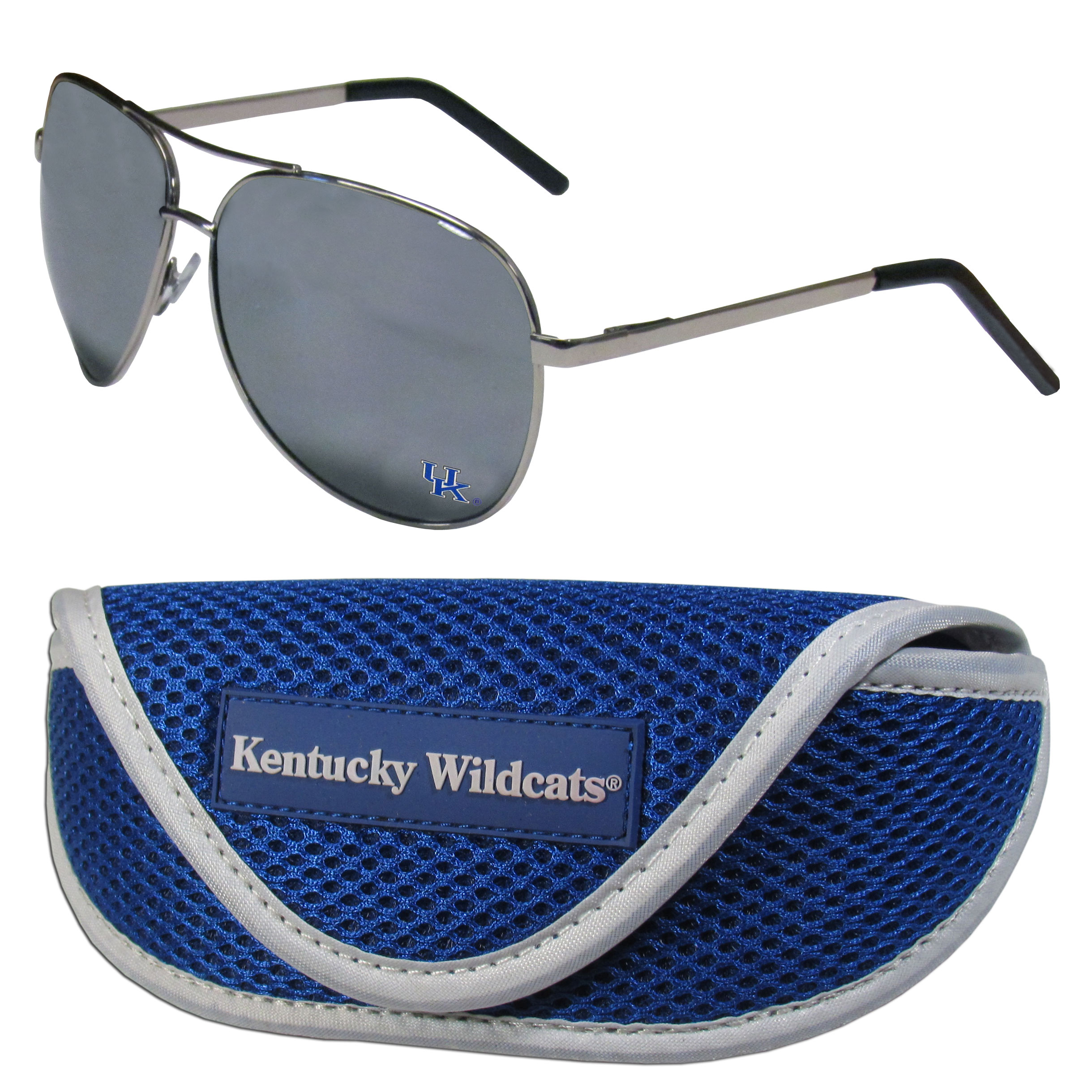 Kentucky Wildcats Aviator Sunglasses and Sports Case - Aviator sunglasses are truly an iconic retro fashion statement that never goes out-of-style. Our Kentucky Wildcats  aviator sunglasses pair this classic look with your love of the game. The iridium coated lenses reduce glare while driving, boating, golfing and their 100% UVA/UVB rating provides you with the maximum UV protection for all your outdoor activities. A millennial favorite, these affordable designer frames are the perfect eyewear accessory for a sports fan that is looking for high-quality at an affordable price. The durable, flex hinged frames are tough enough for hiking and camping or if you prefer sun bathing by the pool or on the beach these shades will really stand the test of time. The sunglasses come with a sporty case which has a large team logo on the lid that will make even the most die-hard fan proud!