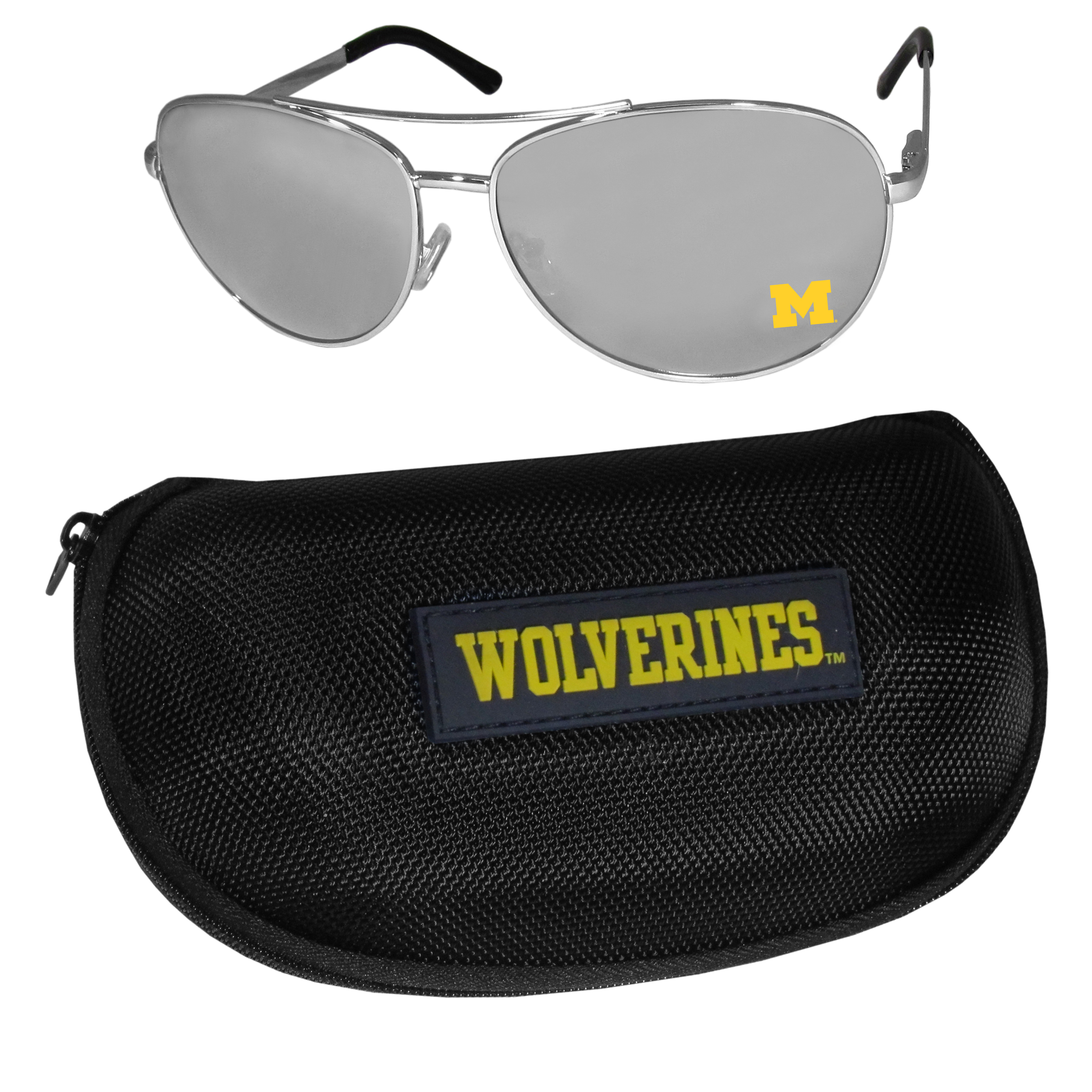 Michigan Wolverines Aviator Sunglasses and Zippered Carrying Case - Aviator sunglasses are truly an iconic retro fashion statement that never goes out-of-style. Our Michigan Wolverines  aviator sunglasses pair this classic look with your love of the game. The iridium coated lenses reduce glare while driving, boating, golfing and their 100% UVA/UVB rating provides you with the maximum UV protection for all your outdoor activities. A millennial favorite, these affordable designer frames are the perfect eyewear accessory for a sports fan that is looking for high-quality at an affordable price. The durable, flex hinged frames are tough enough for hiking and camping or if you prefer sun bathing by the pool or on the beach these shades will really stand the test of time. The sunglasses come with a hard shell zippered case which has a large team logo on the lid that will make even the most die-hard fan proud!