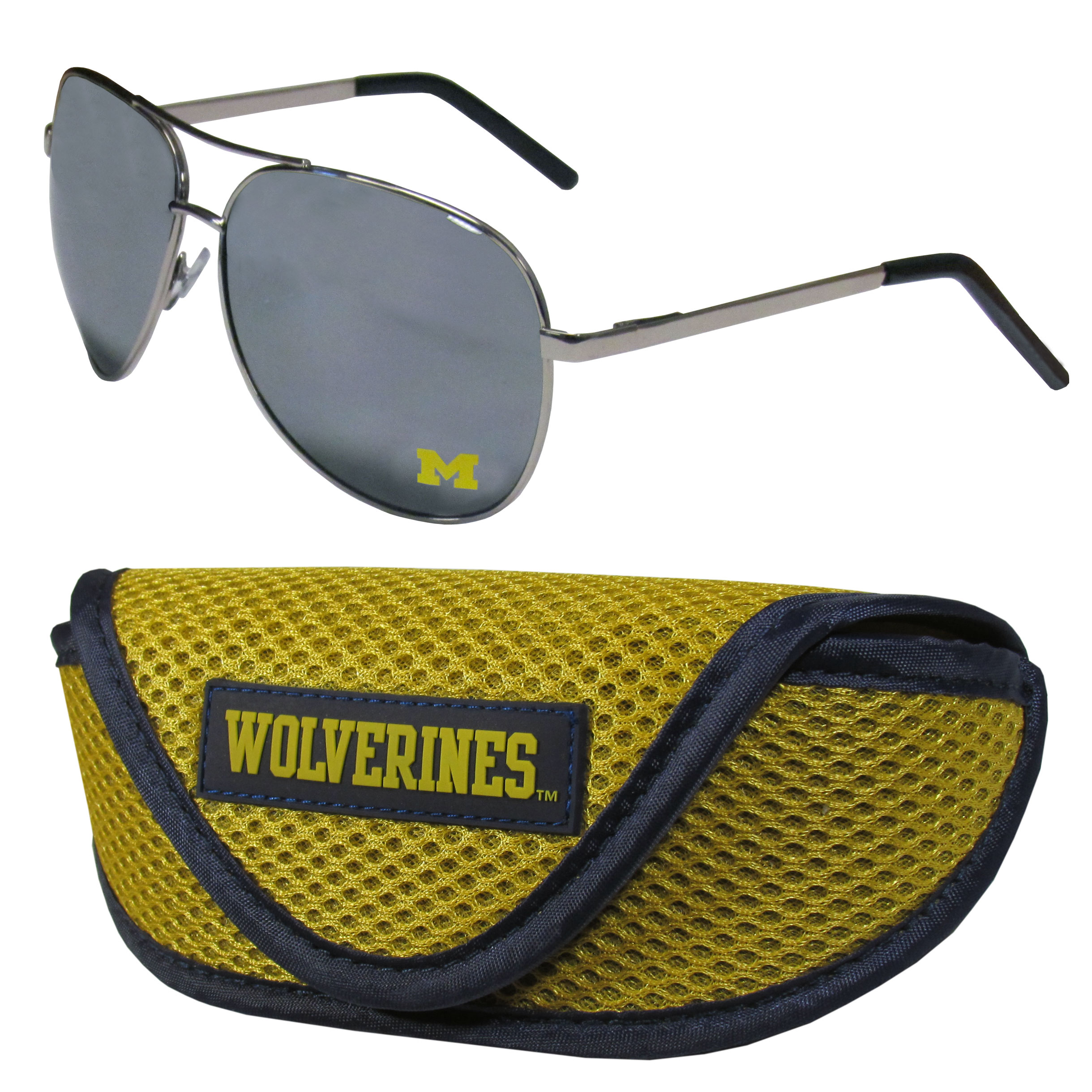 Michigan Wolverines Aviator Sunglasses and Sports Case - Aviator sunglasses are truly an iconic retro fashion statement that never goes out-of-style. Our Michigan Wolverines  aviator sunglasses pair this classic look with your love of the game. The iridium coated lenses reduce glare while driving, boating, golfing and their 100% UVA/UVB rating provides you with the maximum UV protection for all your outdoor activities. A millennial favorite, these affordable designer frames are the perfect eyewear accessory for a sports fan that is looking for high-quality at an affordable price. The durable, flex hinged frames are tough enough for hiking and camping or if you prefer sun bathing by the pool or on the beach these shades will really stand the test of time. The sunglasses come with a sporty case which has a large team logo on the lid that will make even the most die-hard fan proud!