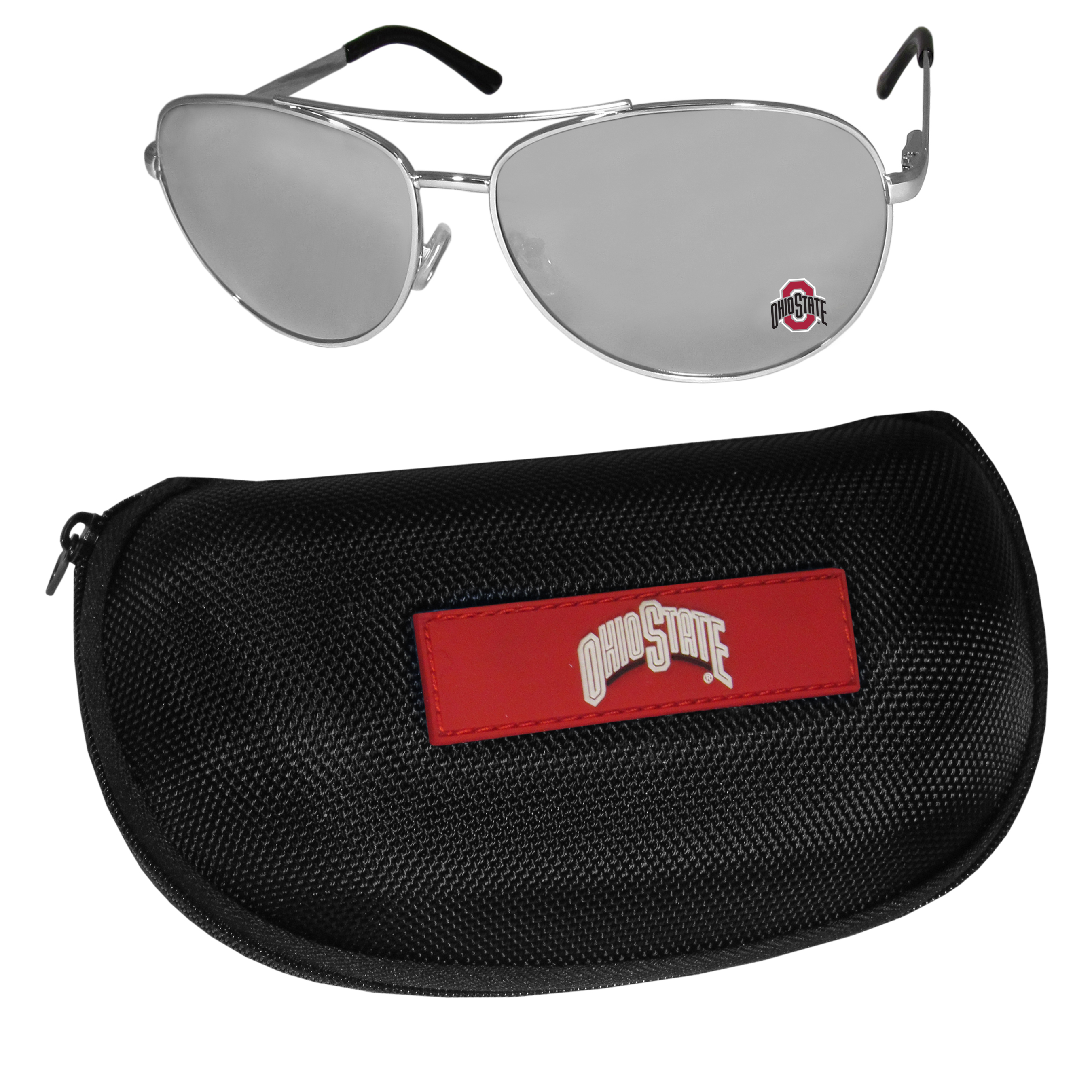 Ohio St. Buckeyes Aviator Sunglasses and Zippered Carrying Case - Aviator sunglasses are truly an iconic retro fashion statement that never goes out-of-style. Our Ohio St. Buckeyes  aviator sunglasses pair this classic look with your love of the game. The iridium coated lenses reduce glare while driving, boating, golfing and their 100% UVA/UVB rating provides you with the maximum UV protection for all your outdoor activities. A millennial favorite, these affordable designer frames are the perfect eyewear accessory for a sports fan that is looking for high-quality at an affordable price. The durable, flex hinged frames are tough enough for hiking and camping or if you prefer sun bathing by the pool or on the beach these shades will really stand the test of time. The sunglasses come with a hard shell zippered case which has a large team logo on the lid that will make even the most die-hard fan proud!