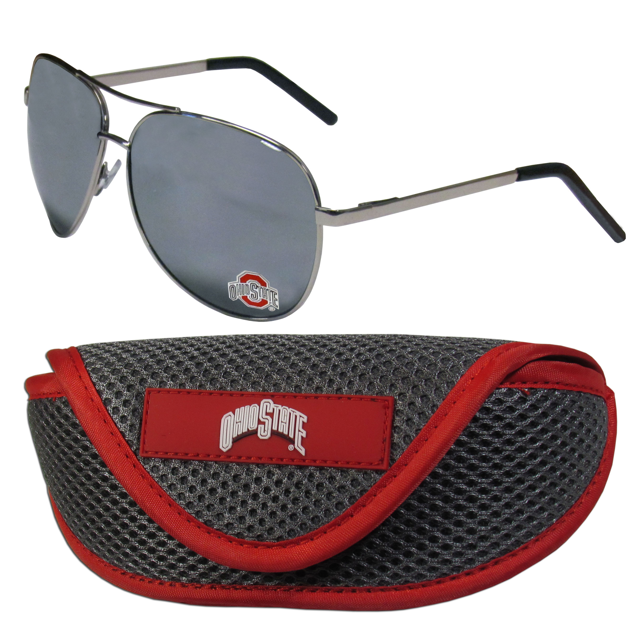 Ohio St. Buckeyes Aviator Sunglasses and Sports Case - Aviator sunglasses are truly an iconic retro fashion statement that never goes out-of-style. Our Ohio St. Buckeyes  aviator sunglasses pair this classic look with your love of the game. The iridium coated lenses reduce glare while driving, boating, golfing and their 100% UVA/UVB rating provides you with the maximum UV protection for all your outdoor activities. A millennial favorite, these affordable designer frames are the perfect eyewear accessory for a sports fan that is looking for high-quality at an affordable price. The durable, flex hinged frames are tough enough for hiking and camping or if you prefer sun bathing by the pool or on the beach these shades will really stand the test of time. The sunglasses come with a sporty case which has a large team logo on the lid that will make even the most die-hard fan proud!