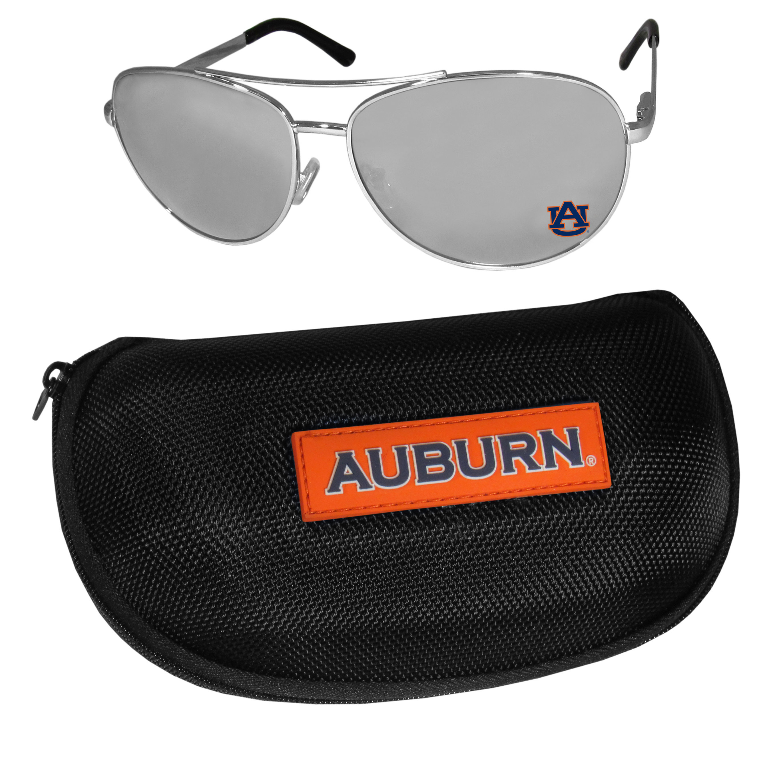Auburn Tigers Aviator Sunglasses and Zippered Carrying Case - Aviator sunglasses are truly an iconic retro fashion statement that never goes out-of-style. Our Auburn Tigers  aviator sunglasses pair this classic look with your love of the game. The iridium coated lenses reduce glare while driving, boating, golfing and their 100% UVA/UVB rating provides you with the maximum UV protection for all your outdoor activities. A millennial favorite, these affordable designer frames are the perfect eyewear accessory for a sports fan that is looking for high-quality at an affordable price. The durable, flex hinged frames are tough enough for hiking and camping or if you prefer sun bathing by the pool or on the beach these shades will really stand the test of time. The sunglasses come with a hard shell zippered case which has a large team logo on the lid that will make even the most die-hard fan proud!