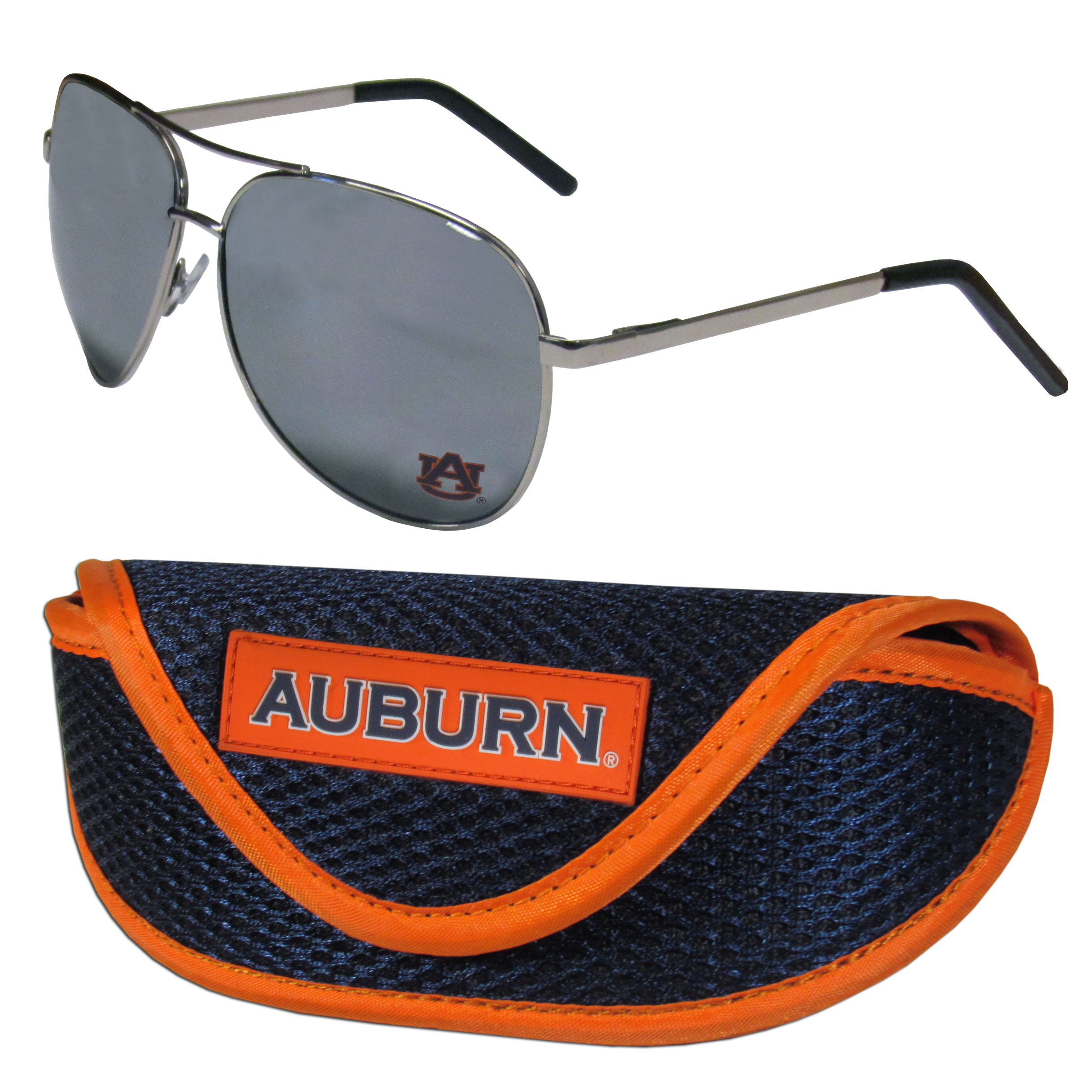 Auburn Tigers Aviator Sunglasses and Sports Case - Aviator sunglasses are truly an iconic retro fashion statement that never goes out-of-style. Our Auburn Tigers  aviator sunglasses pair this classic look with your love of the game. The iridium coated lenses reduce glare while driving, boating, golfing and their 100% UVA/UVB rating provides you with the maximum UV protection for all your outdoor activities. A millennial favorite, these affordable designer frames are the perfect eyewear accessory for a sports fan that is looking for high-quality at an affordable price. The durable, flex hinged frames are tough enough for hiking and camping or if you prefer sun bathing by the pool or on the beach these shades will really stand the test of time. The sunglasses come with a sporty case which has a large team logo on the lid that will make even the most die-hard fan proud!