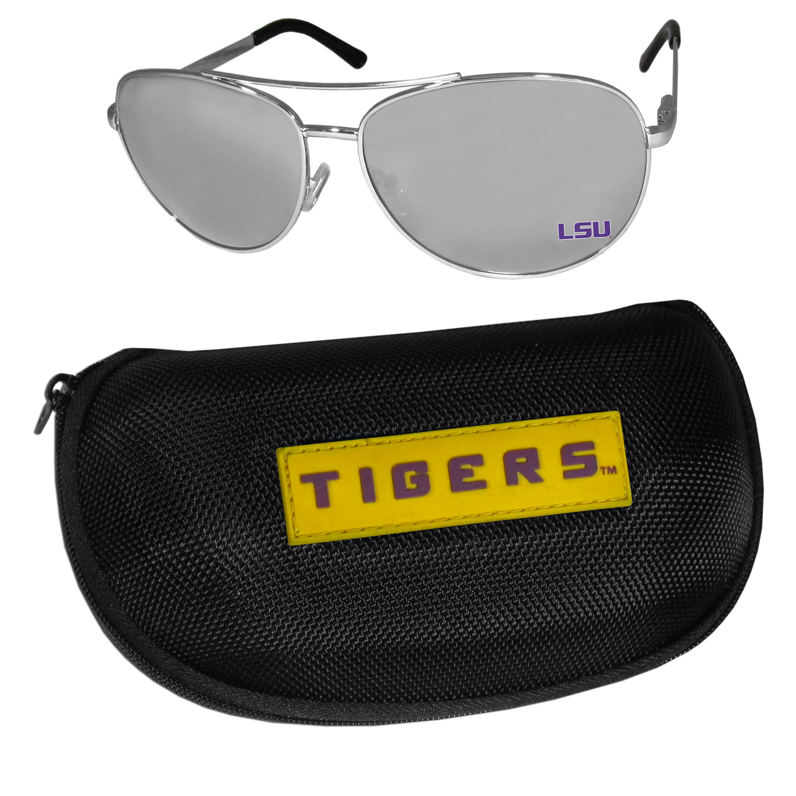 LSU Tigers Aviator Sunglasses and Zippered Carrying Case - Aviator sunglasses are truly an iconic retro fashion statement that never goes out-of-style. Our LSU Tigers  aviator sunglasses pair this classic look with your love of the game. The iridium coated lenses reduce glare while driving, boating, golfing and their 100% UVA/UVB rating provides you with the maximum UV protection for all your outdoor activities. A millennial favorite, these affordable designer frames are the perfect eyewear accessory for a sports fan that is looking for high-quality at an affordable price. The durable, flex hinged frames are tough enough for hiking and camping or if you prefer sun bathing by the pool or on the beach these shades will really stand the test of time. The sunglasses come with a hard shell zippered case which has a large team logo on the lid that will make even the most die-hard fan proud!