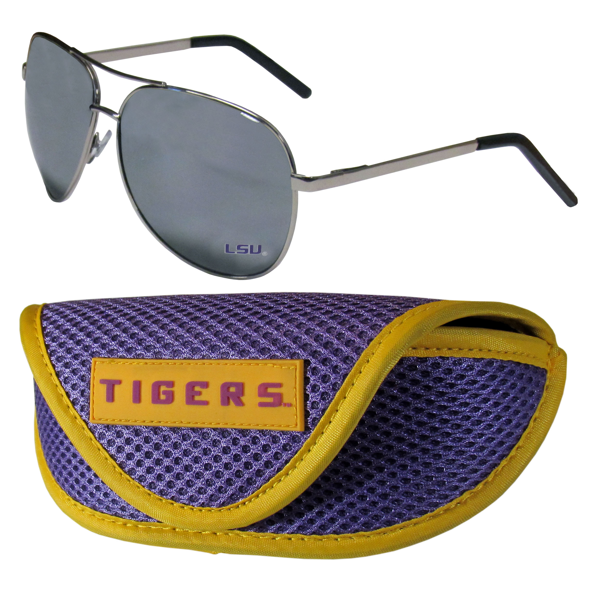 LSU Tigers Aviator Sunglasses and Sports Case - Aviator sunglasses are truly an iconic retro fashion statement that never goes out-of-style. Our LSU Tigers  aviator sunglasses pair this classic look with your love of the game. The iridium coated lenses reduce glare while driving, boating, golfing and their 100% UVA/UVB rating provides you with the maximum UV protection for all your outdoor activities. A millennial favorite, these affordable designer frames are the perfect eyewear accessory for a sports fan that is looking for high-quality at an affordable price. The durable, flex hinged frames are tough enough for hiking and camping or if you prefer sun bathing by the pool or on the beach these shades will really stand the test of time. The sunglasses come with a sporty case which has a large team logo on the lid that will make even the most die-hard fan proud!