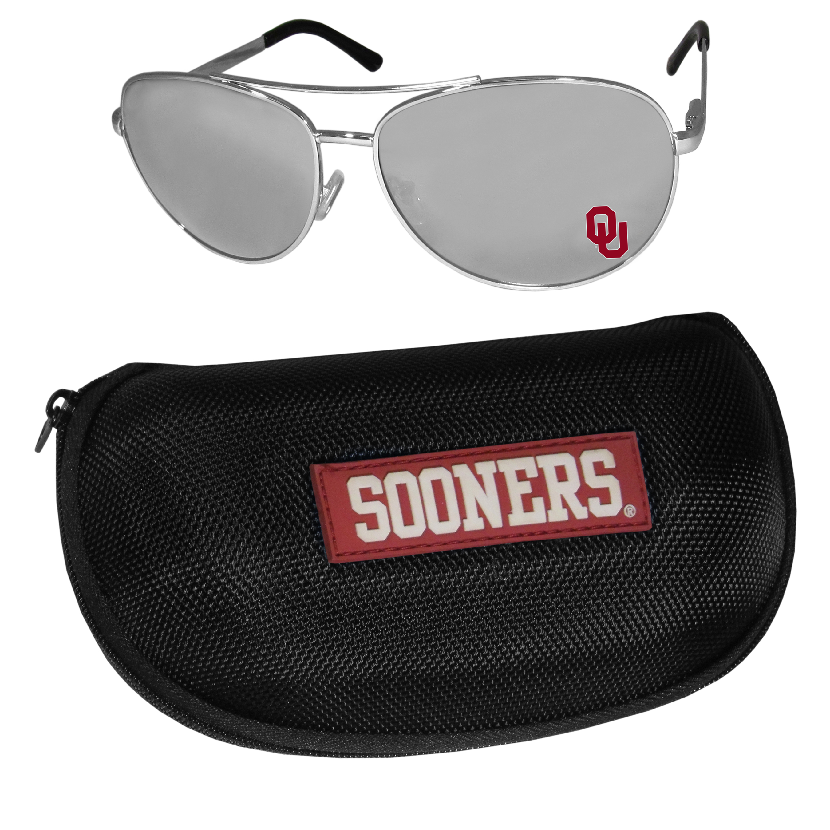 Oklahoma Sooners Aviator Sunglasses and Zippered Carrying Case - Aviator sunglasses are truly an iconic retro fashion statement that never goes out-of-style. Our Oklahoma Sooners  aviator sunglasses pair this classic look with your love of the game. The iridium coated lenses reduce glare while driving, boating, golfing and their 100% UVA/UVB rating provides you with the maximum UV protection for all your outdoor activities. A millennial favorite, these affordable designer frames are the perfect eyewear accessory for a sports fan that is looking for high-quality at an affordable price. The durable, flex hinged frames are tough enough for hiking and camping or if you prefer sun bathing by the pool or on the beach these shades will really stand the test of time. The sunglasses come with a hard shell zippered case which has a large team logo on the lid that will make even the most die-hard fan proud!