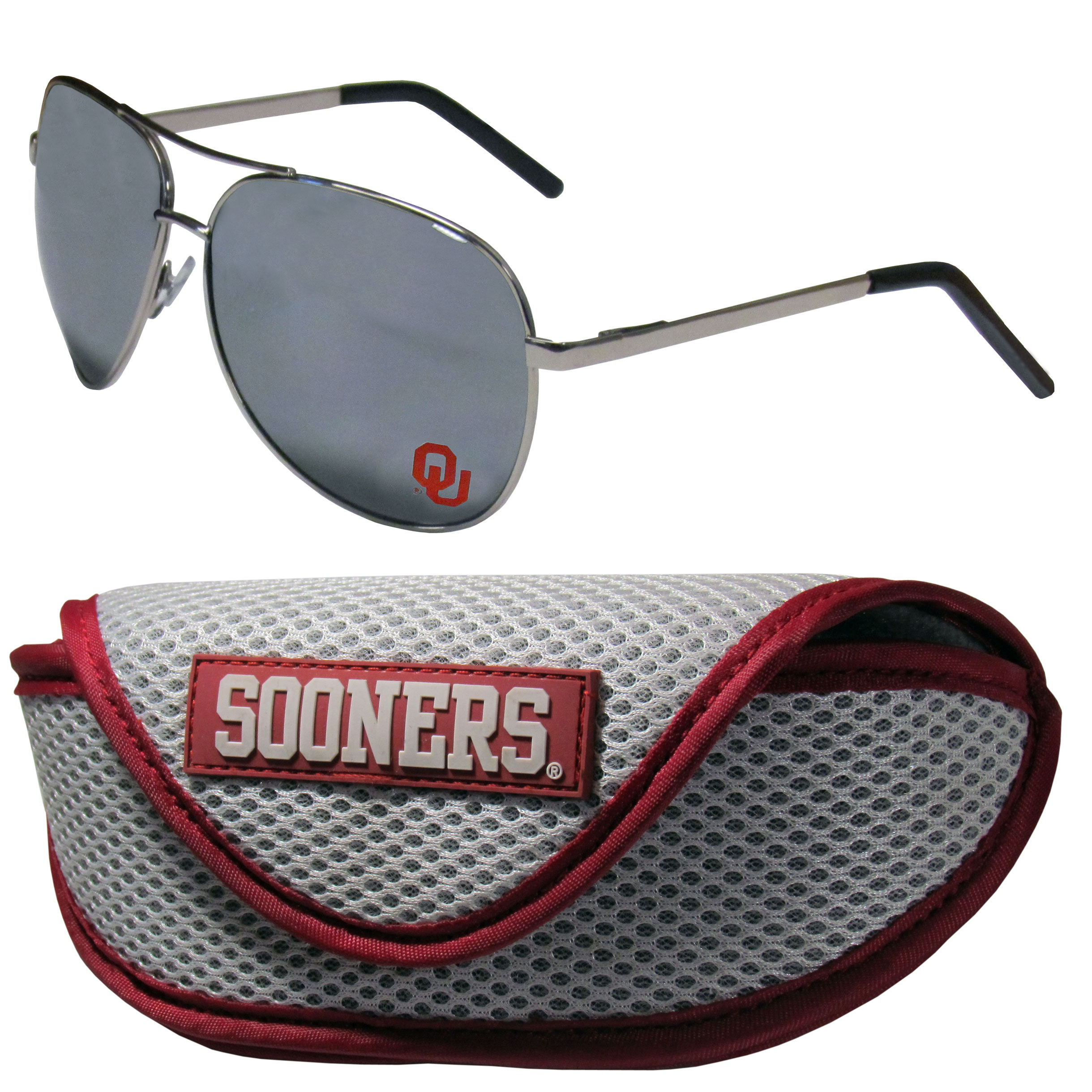 Oklahoma Sooners Aviator Sunglasses and Sports Case - Aviator sunglasses are truly an iconic retro fashion statement that never goes out-of-style. Our Oklahoma Sooners  aviator sunglasses pair this classic look with your love of the game. The iridium coated lenses reduce glare while driving, boating, golfing and their 100% UVA/UVB rating provides you with the maximum UV protection for all your outdoor activities. A millennial favorite, these affordable designer frames are the perfect eyewear accessory for a sports fan that is looking for high-quality at an affordable price. The durable, flex hinged frames are tough enough for hiking and camping or if you prefer sun bathing by the pool or on the beach these shades will really stand the test of time. The sunglasses come with a sporty case which has a large team logo on the lid that will make even the most die-hard fan proud!