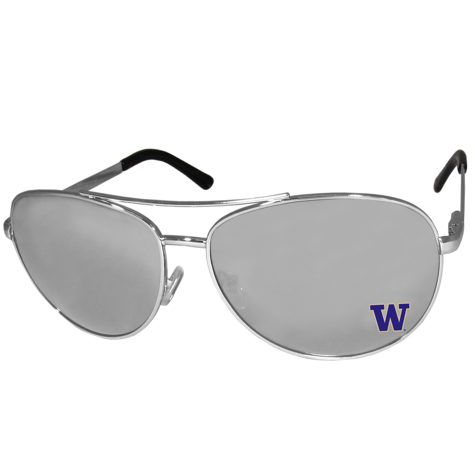 Washington Huskies Aviator Sunglasses - Our aviator sunglasses have the iconic aviator style with mirrored lenses and metal frames. The glasses feature a silk screened Washington Huskies logo in the corner of the lense. 100% UVA/UVB protection.