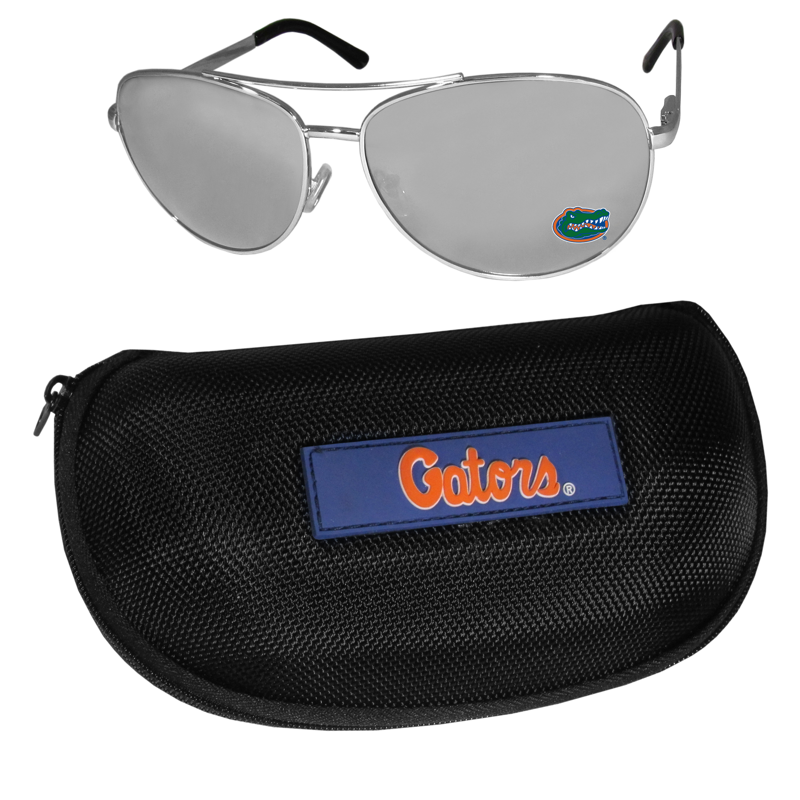 Florida Gators Aviator Sunglasses and Zippered Carrying Case - Aviator sunglasses are truly an iconic retro fashion statement that never goes out-of-style. Our Florida Gators  aviator sunglasses pair this classic look with your love of the game. The iridium coated lenses reduce glare while driving, boating, golfing and their 100% UVA/UVB rating provides you with the maximum UV protection for all your outdoor activities. A millennial favorite, these affordable designer frames are the perfect eyewear accessory for a sports fan that is looking for high-quality at an affordable price. The durable, flex hinged frames are tough enough for hiking and camping or if you prefer sun bathing by the pool or on the beach these shades will really stand the test of time. The sunglasses come with a hard shell zippered case which has a large team logo on the lid that will make even the most die-hard fan proud!