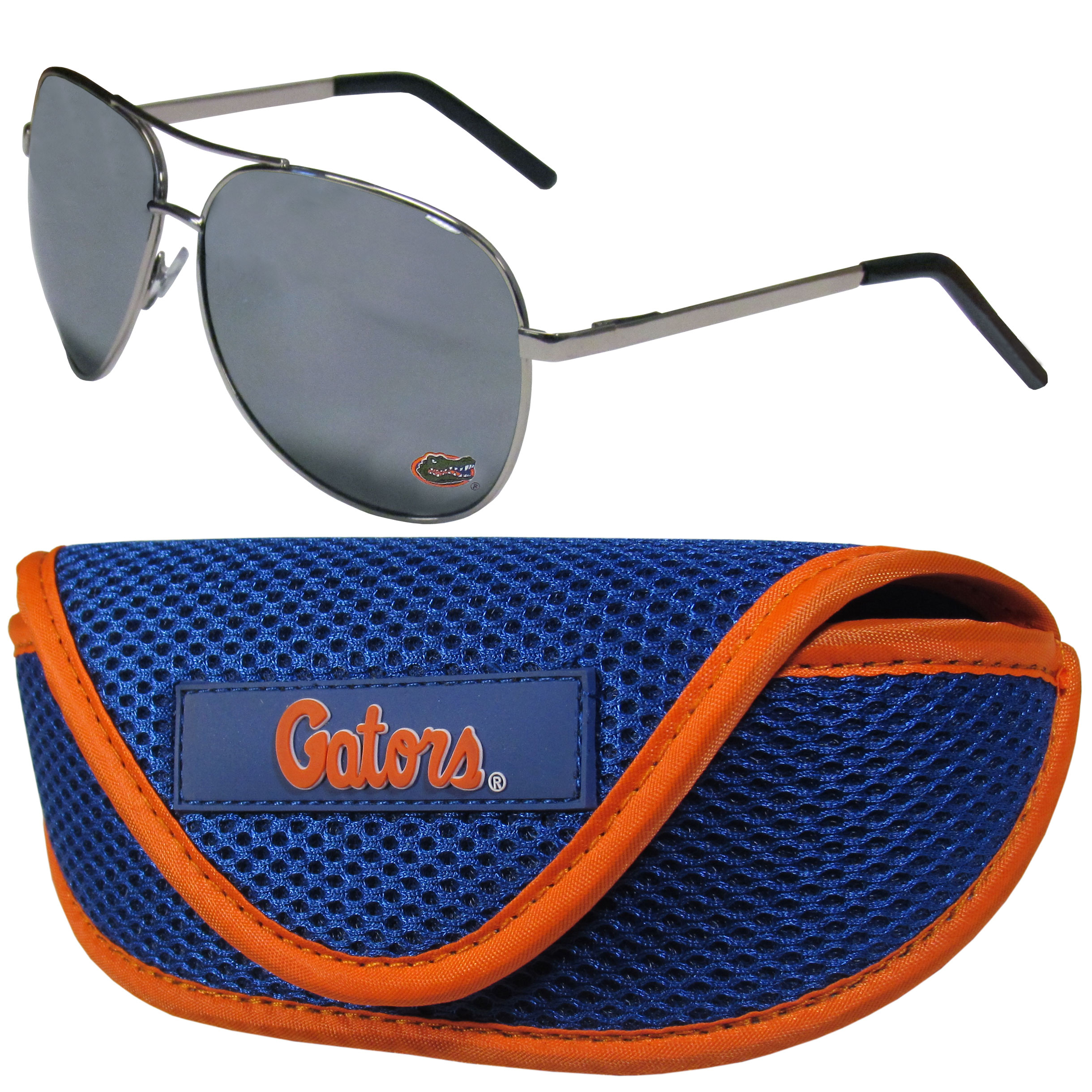 Florida Gators Aviator Sunglasses and Sports Case - Aviator sunglasses are truly an iconic retro fashion statement that never goes out-of-style. Our Florida Gators  aviator sunglasses pair this classic look with your love of the game. The iridium coated lenses reduce glare while driving, boating, golfing and their 100% UVA/UVB rating provides you with the maximum UV protection for all your outdoor activities. A millennial favorite, these affordable designer frames are the perfect eyewear accessory for a sports fan that is looking for high-quality at an affordable price. The durable, flex hinged frames are tough enough for hiking and camping or if you prefer sun bathing by the pool or on the beach these shades will really stand the test of time. The sunglasses come with a sporty case which has a large team logo on the lid that will make even the most die-hard fan proud!