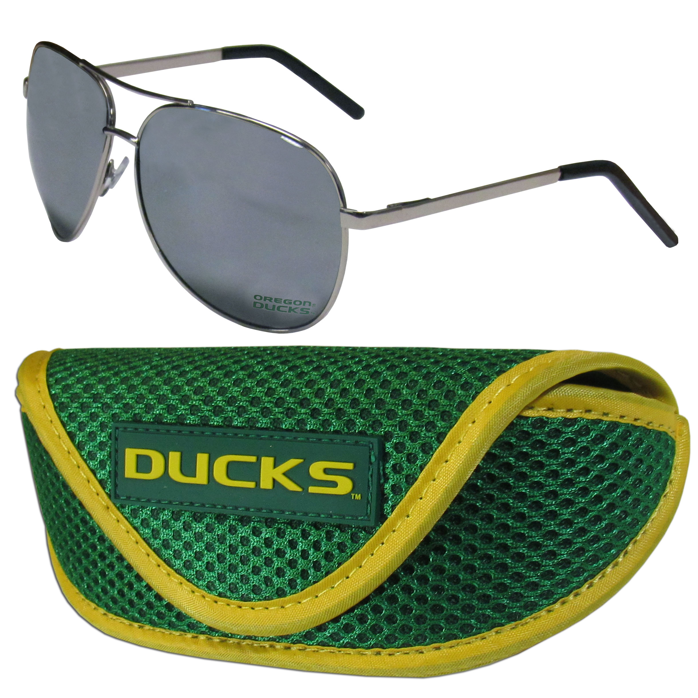 Oregon Ducks Aviator Sunglasses and Sports Case - Aviator sunglasses are truly an iconic retro fashion statement that never goes out-of-style. Our Oregon Ducks  aviator sunglasses pair this classic look with your love of the game. The iridium coated lenses reduce glare while driving, boating, golfing and their 100% UVA/UVB rating provides you with the maximum UV protection for all your outdoor activities. A millennial favorite, these affordable designer frames are the perfect eyewear accessory for a sports fan that is looking for high-quality at an affordable price. The durable, flex hinged frames are tough enough for hiking and camping or if you prefer sun bathing by the pool or on the beach these shades will really stand the test of time. The sunglasses come with a sporty case which has a large team logo on the lid that will make even the most die-hard fan proud!