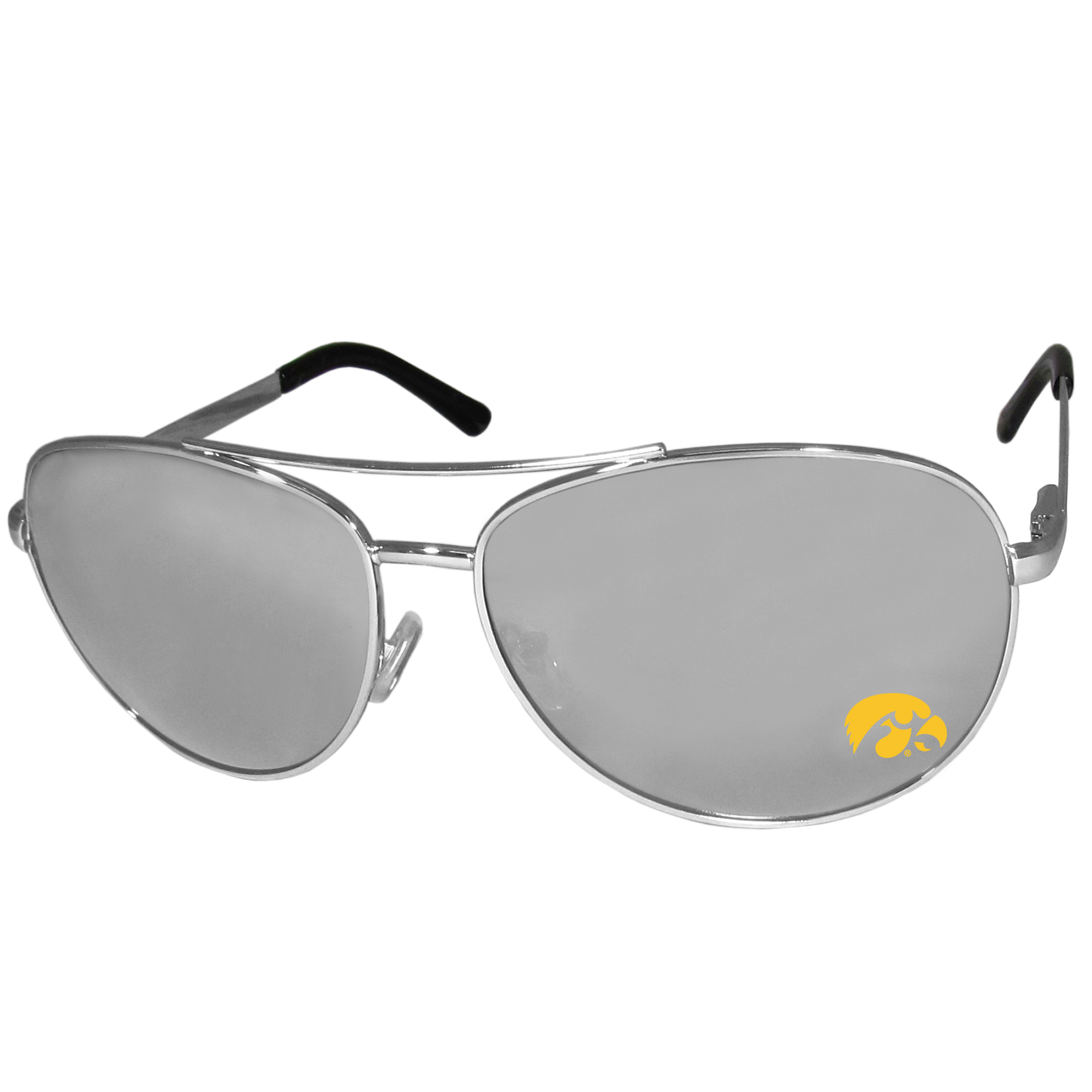 Iowa Hawkeyes Aviator Sunglasses - Our aviator sunglasses have the iconic aviator style with mirrored lenses and metal frames. The glasses feature a silk screened Iowa Hawkeyes logo in the corner of the lense. 100% UVA/UVB protection.