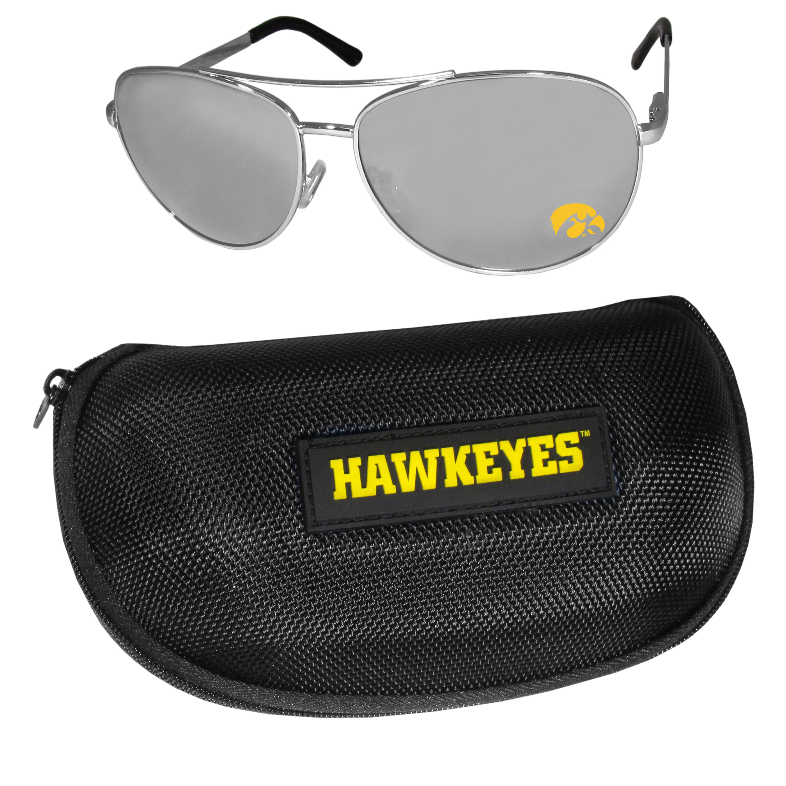 Iowa Hawkeyes Aviator Sunglasses and Zippered Carrying Case - Aviator sunglasses are truly an iconic retro fashion statement that never goes out-of-style. Our Iowa Hawkeyes  aviator sunglasses pair this classic look with your love of the game. The iridium coated lenses reduce glare while driving, boating, golfing and their 100% UVA/UVB rating provides you with the maximum UV protection for all your outdoor activities. A millennial favorite, these affordable designer frames are the perfect eyewear accessory for a sports fan that is looking for high-quality at an affordable price. The durable, flex hinged frames are tough enough for hiking and camping or if you prefer sun bathing by the pool or on the beach these shades will really stand the test of time. The sunglasses come with a hard shell zippered case which has a large team logo on the lid that will make even the most die-hard fan proud!