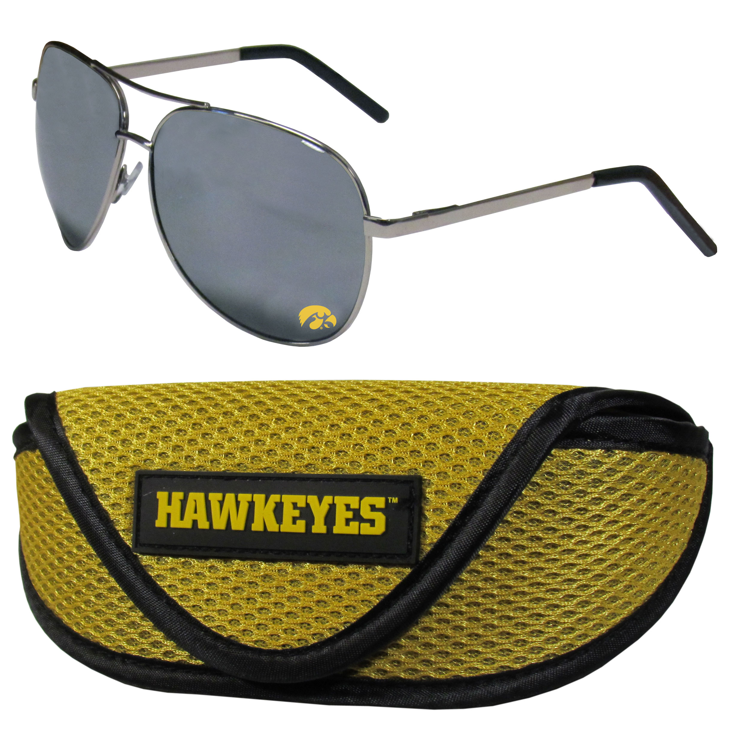 Iowa Hawkeyes Aviator Sunglasses and Sports Case - Aviator sunglasses are truly an iconic retro fashion statement that never goes out-of-style. Our Iowa Hawkeyes  aviator sunglasses pair this classic look with your love of the game. The iridium coated lenses reduce glare while driving, boating, golfing and their 100% UVA/UVB rating provides you with the maximum UV protection for all your outdoor activities. A millennial favorite, these affordable designer frames are the perfect eyewear accessory for a sports fan that is looking for high-quality at an affordable price. The durable, flex hinged frames are tough enough for hiking and camping or if you prefer sun bathing by the pool or on the beach these shades will really stand the test of time. The sunglasses come with a sporty case which has a large team logo on the lid that will make even the most die-hard fan proud!