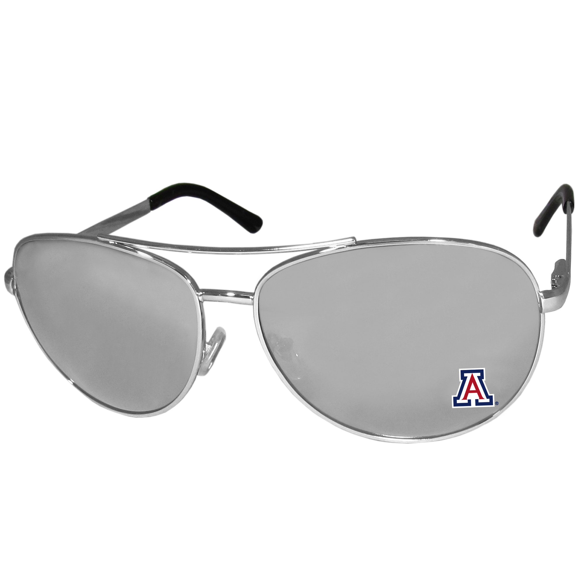 Arizona Wildcats Aviator Sunglasses - Our aviator sunglasses have the iconic aviator style with mirrored lenses and metal frames. The glasses feature a silk screened Arizona Wildcats logo in the corner of the lense. 100% UVA/UVB protection.