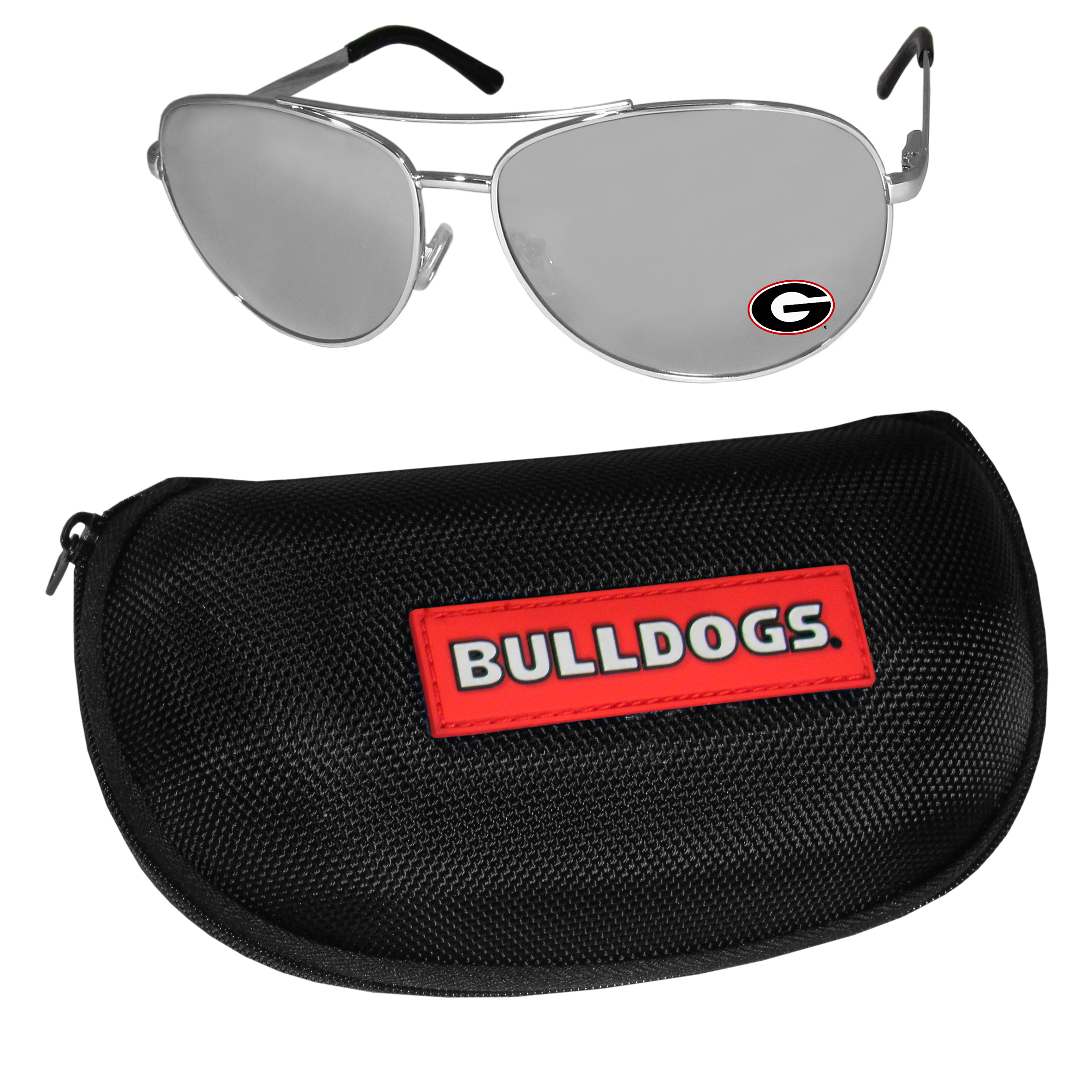 Georgia Bulldogs Aviator Sunglasses and Zippered Carrying Case - Aviator sunglasses are truly an iconic retro fashion statement that never goes out-of-style. Our Georgia Bulldogs  aviator sunglasses pair this classic look with your love of the game. The iridium coated lenses reduce glare while driving, boating, golfing and their 100% UVA/UVB rating provides you with the maximum UV protection for all your outdoor activities. A millennial favorite, these affordable designer frames are the perfect eyewear accessory for a sports fan that is looking for high-quality at an affordable price. The durable, flex hinged frames are tough enough for hiking and camping or if you prefer sun bathing by the pool or on the beach these shades will really stand the test of time. The sunglasses come with a hard shell zippered case which has a large team logo on the lid that will make even the most die-hard fan proud!