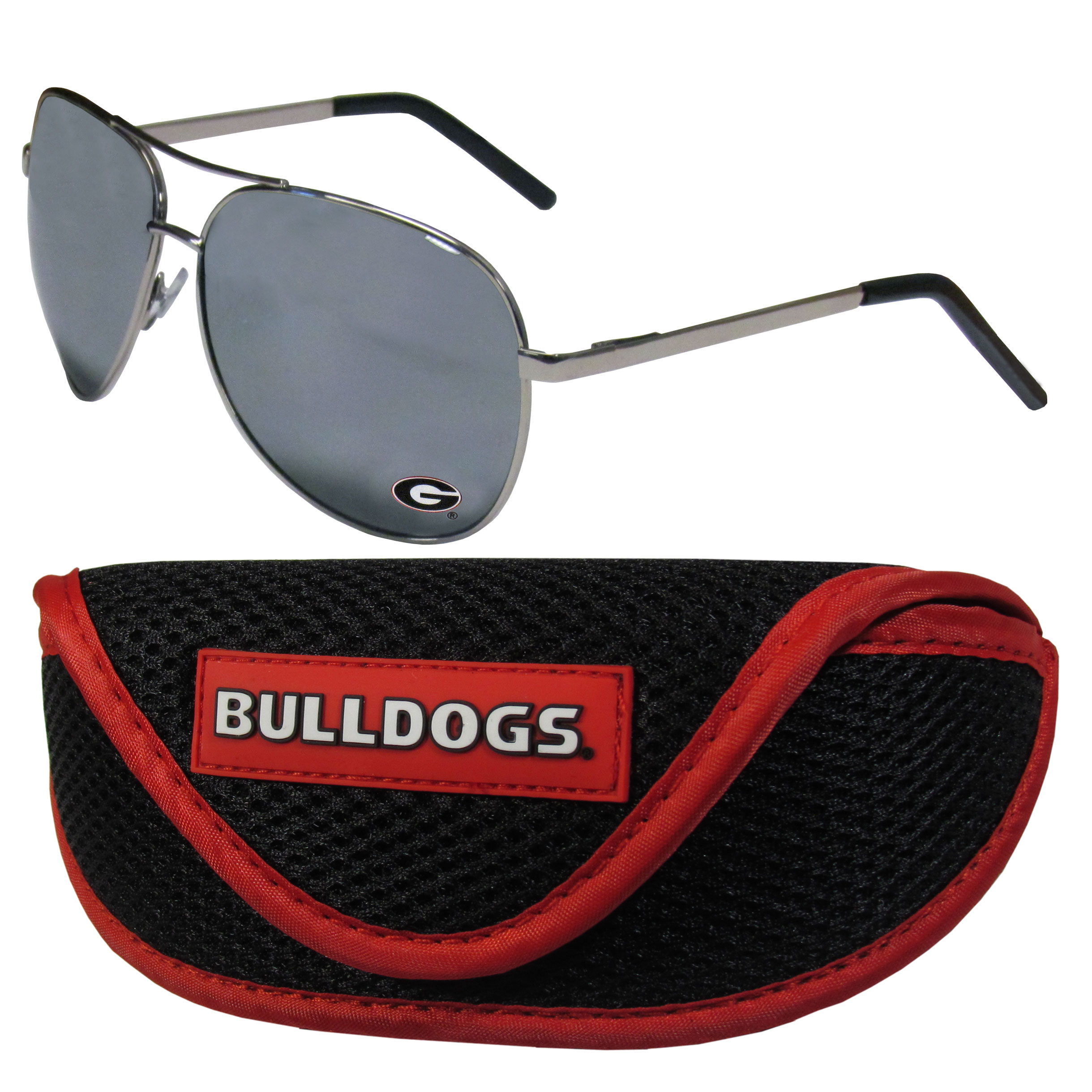 Georgia Bulldogs Aviator Sunglasses and Sports Case - Aviator sunglasses are truly an iconic retro fashion statement that never goes out-of-style. Our Georgia Bulldogs  aviator sunglasses pair this classic look with your love of the game. The iridium coated lenses reduce glare while driving, boating, golfing and their 100% UVA/UVB rating provides you with the maximum UV protection for all your outdoor activities. A millennial favorite, these affordable designer frames are the perfect eyewear accessory for a sports fan that is looking for high-quality at an affordable price. The durable, flex hinged frames are tough enough for hiking and camping or if you prefer sun bathing by the pool or on the beach these shades will really stand the test of time. The sunglasses come with a sporty case which has a large team logo on the lid that will make even the most die-hard fan proud!