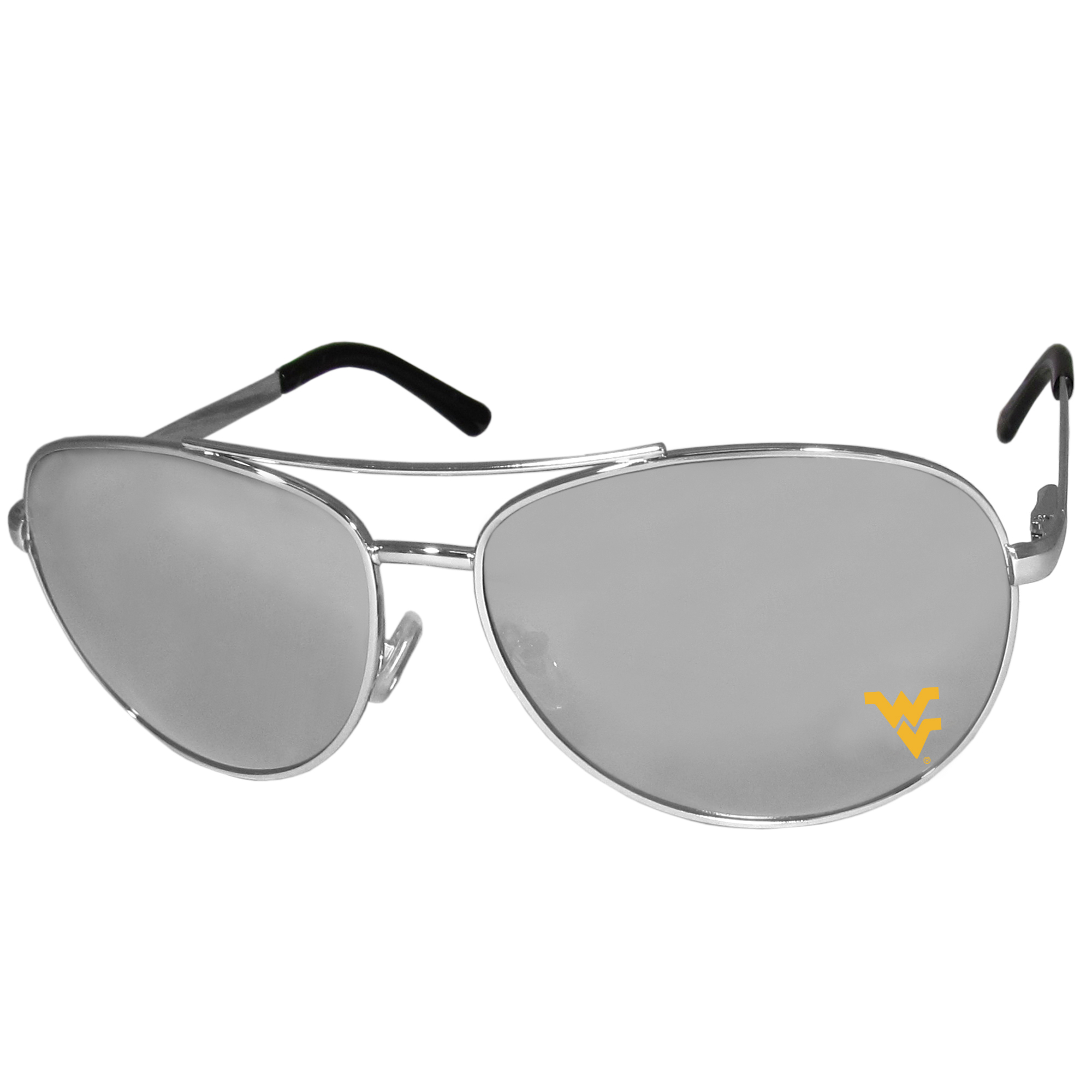 W. Virginia Mountaineers Aviator Sunglasses - Our aviator sunglasses have the iconic aviator style with mirrored lenses and metal frames. The glasses feature a silk screened W. Virginia Mountaineers logo in the corner of the lense. 100% UVA/UVB protection.