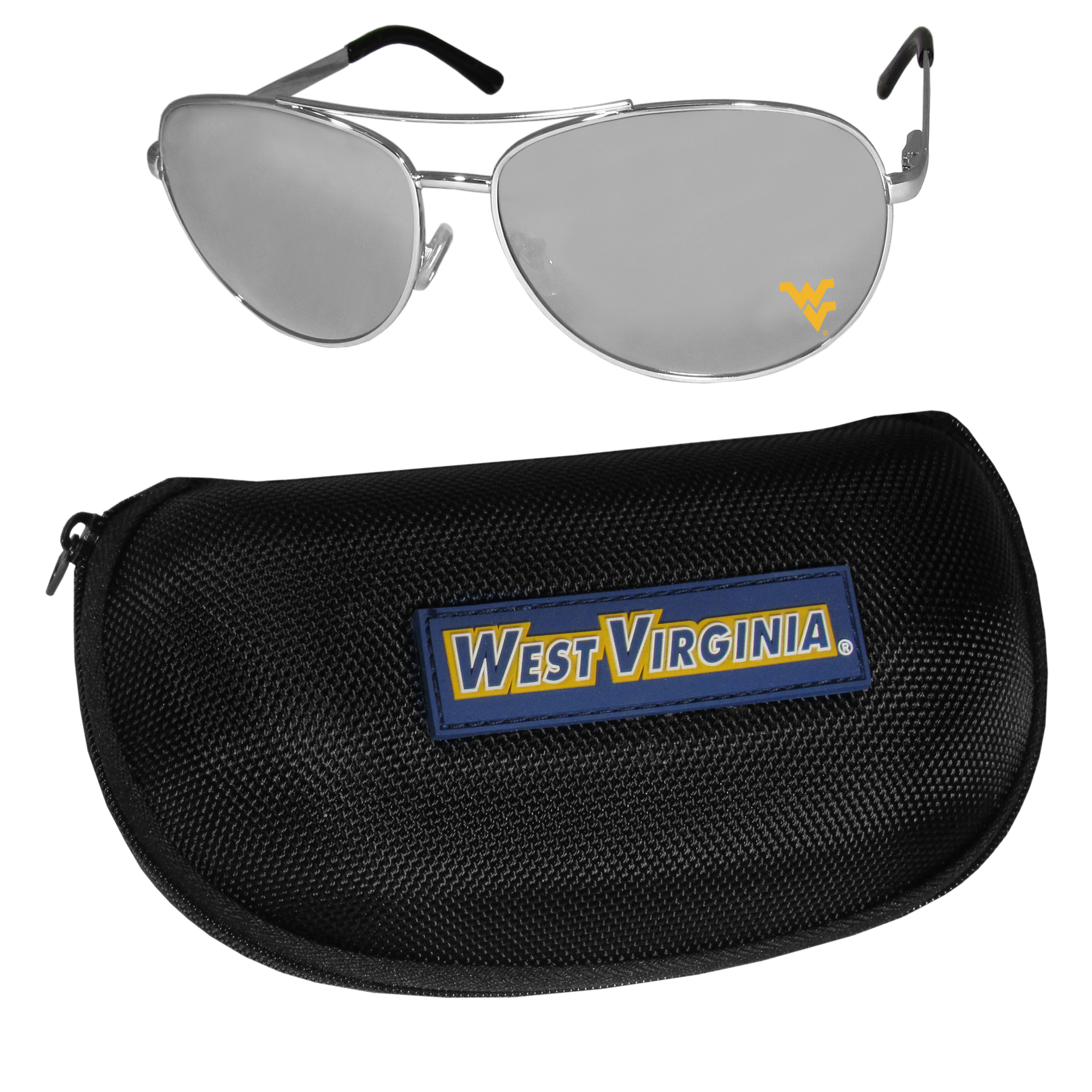 W. Virginia Mountaineers Aviator Sunglasses and Zippered Carrying Case - Aviator sunglasses are truly an iconic retro fashion statement that never goes out-of-style. Our W. Virginia Mountaineers  aviator sunglasses pair this classic look with your love of the game. The iridium coated lenses reduce glare while driving, boating, golfing and their 100% UVA/UVB rating provides you with the maximum UV protection for all your outdoor activities. A millennial favorite, these affordable designer frames are the perfect eyewear accessory for a sports fan that is looking for high-quality at an affordable price. The durable, flex hinged frames are tough enough for hiking and camping or if you prefer sun bathing by the pool or on the beach these shades will really stand the test of time. The sunglasses come with a hard shell zippered case which has a large team logo on the lid that will make even the most die-hard fan proud!