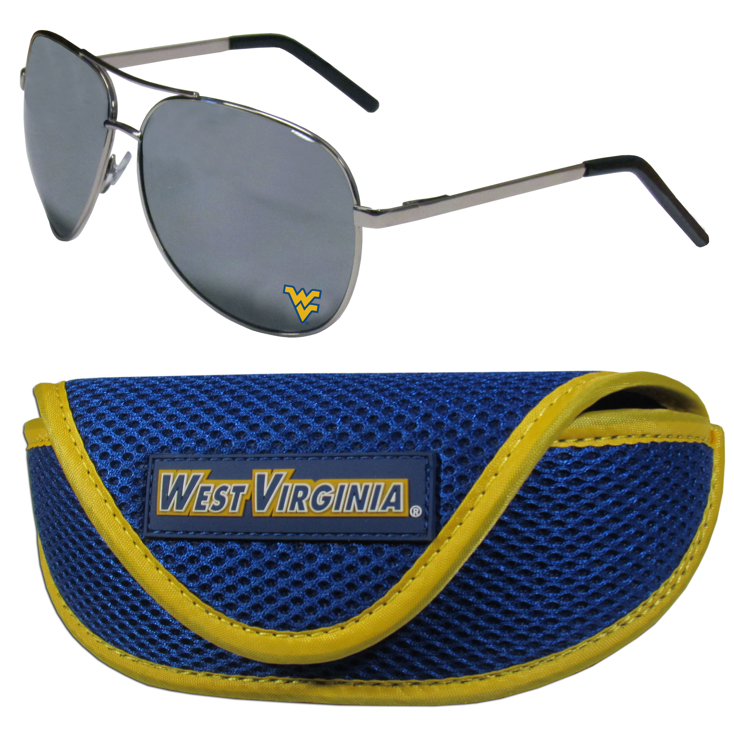 W. Virginia Mountaineers Aviator Sunglasses and Sports Case - Aviator sunglasses are truly an iconic retro fashion statement that never goes out-of-style. Our W. Virginia Mountaineers  aviator sunglasses pair this classic look with your love of the game. The iridium coated lenses reduce glare while driving, boating, golfing and their 100% UVA/UVB rating provides you with the maximum UV protection for all your outdoor activities. A millennial favorite, these affordable designer frames are the perfect eyewear accessory for a sports fan that is looking for high-quality at an affordable price. The durable, flex hinged frames are tough enough for hiking and camping or if you prefer sun bathing by the pool or on the beach these shades will really stand the test of time. The sunglasses come with a sporty case which has a large team logo on the lid that will make even the most die-hard fan proud!
