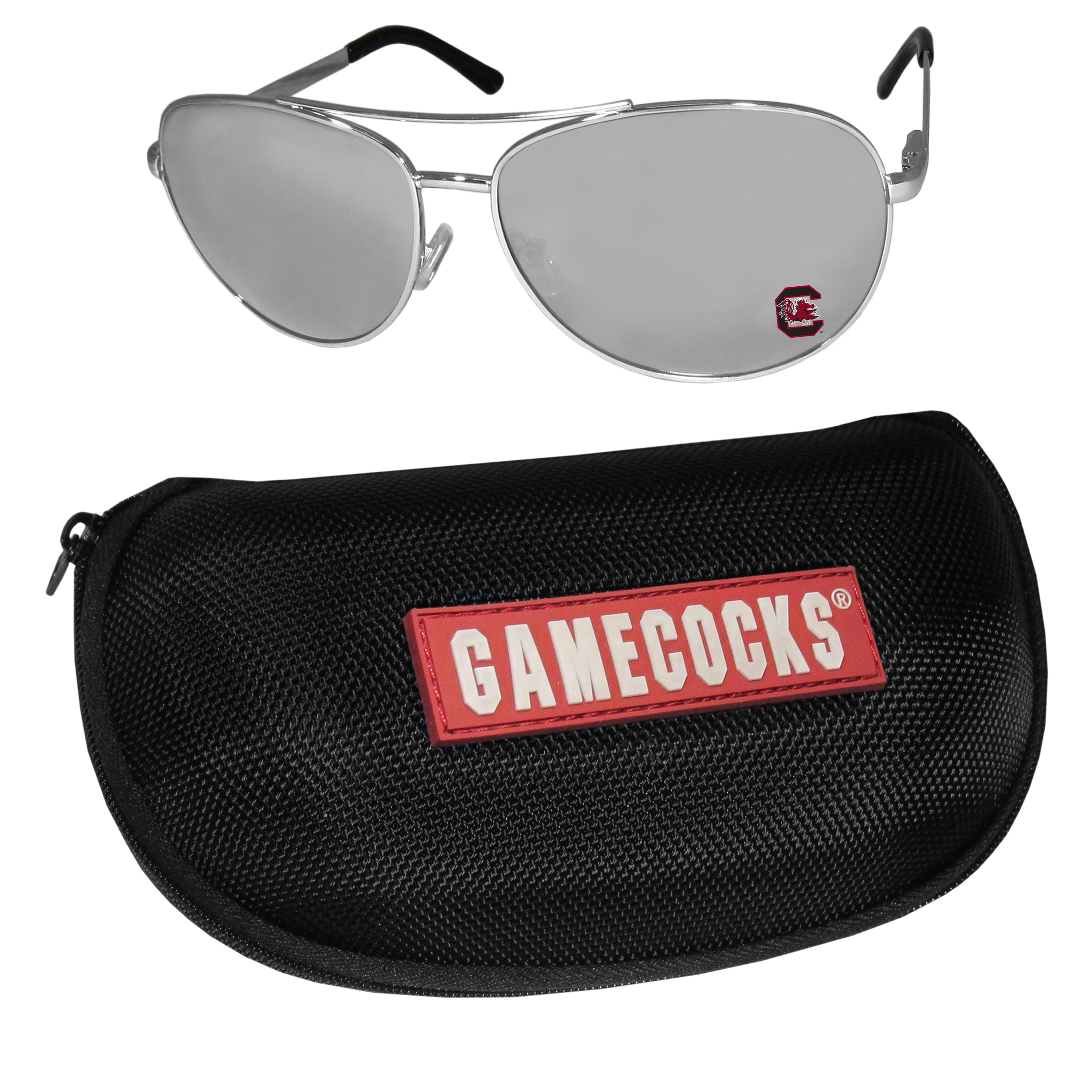 S. Carolina Gamecocks Aviator Sunglasses and Zippered Carrying Case - Aviator sunglasses are truly an iconic retro fashion statement that never goes out-of-style. Our S. Carolina Gamecocks  aviator sunglasses pair this classic look with your love of the game. The iridium coated lenses reduce glare while driving, boating, golfing and their 100% UVA/UVB rating provides you with the maximum UV protection for all your outdoor activities. A millennial favorite, these affordable designer frames are the perfect eyewear accessory for a sports fan that is looking for high-quality at an affordable price. The durable, flex hinged frames are tough enough for hiking and camping or if you prefer sun bathing by the pool or on the beach these shades will really stand the test of time. The sunglasses come with a hard shell zippered case which has a large team logo on the lid that will make even the most die-hard fan proud!