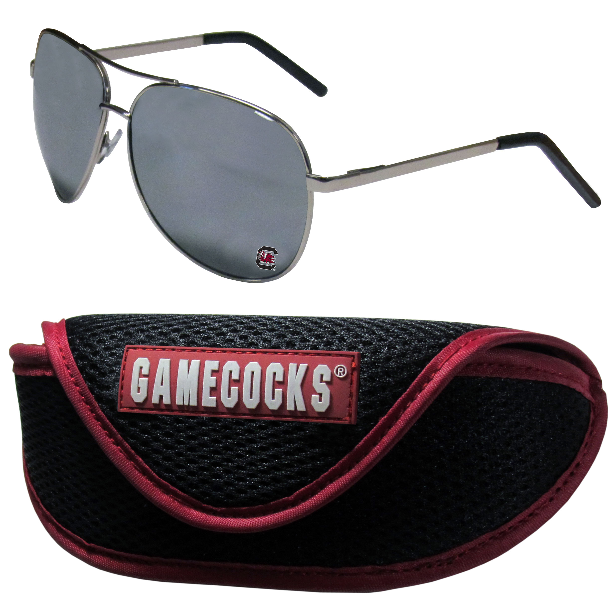 S. Carolina Gamecocks Aviator Sunglasses and Sports Case - Aviator sunglasses are truly an iconic retro fashion statement that never goes out-of-style. Our S. Carolina Gamecocks  aviator sunglasses pair this classic look with your love of the game. The iridium coated lenses reduce glare while driving, boating, golfing and their 100% UVA/UVB rating provides you with the maximum UV protection for all your outdoor activities. A millennial favorite, these affordable designer frames are the perfect eyewear accessory for a sports fan that is looking for high-quality at an affordable price. The durable, flex hinged frames are tough enough for hiking and camping or if you prefer sun bathing by the pool or on the beach these shades will really stand the test of time. The sunglasses come with a sporty case which has a large team logo on the lid that will make even the most die-hard fan proud!