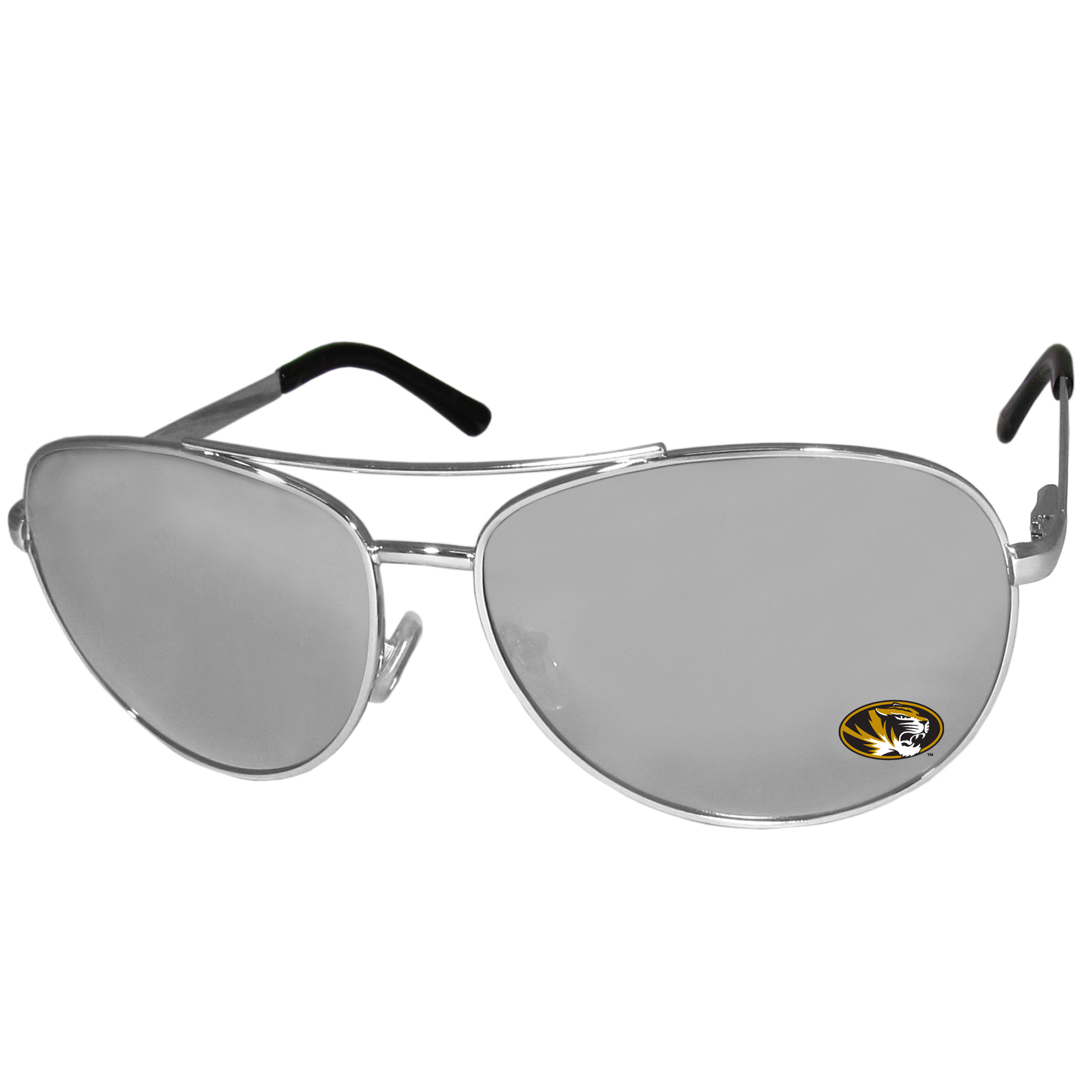 Missouri Tigers Aviator Sunglasses - Our aviator sunglasses have the iconic aviator style with mirrored lenses and metal frames. The glasses feature a silk screened Missouri Tigers logo in the corner of the lense. 100% UVA/UVB protection.